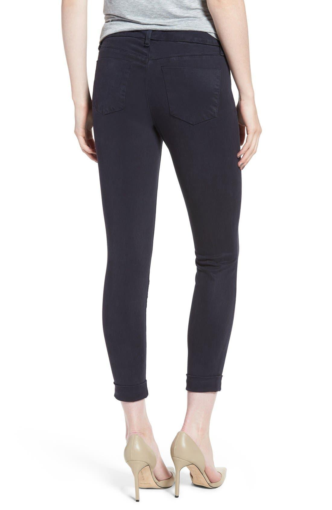 High Waist Ankle Super Skinny Jeans,                             Alternate thumbnail 2, color,                             Dark Navy