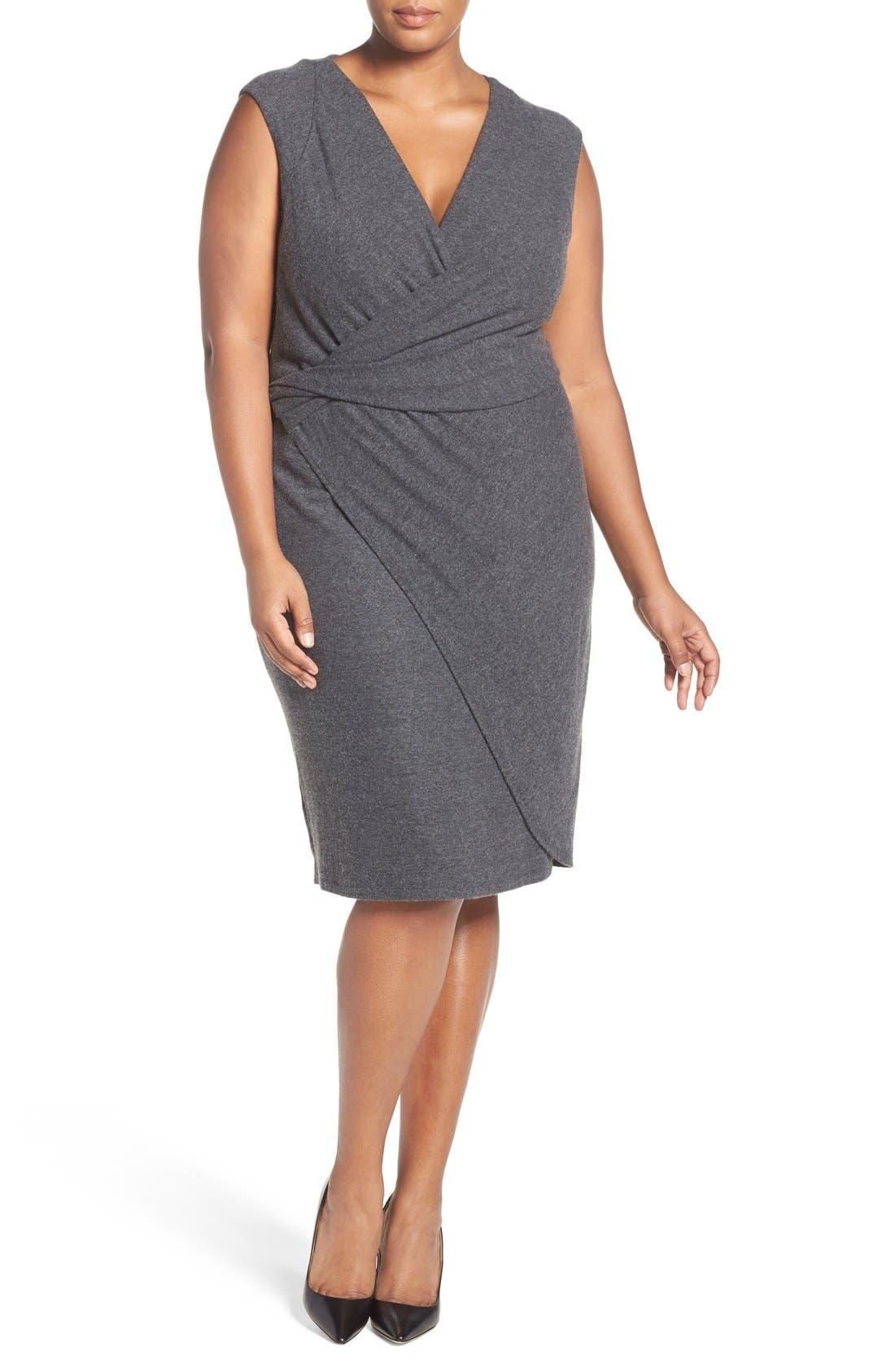'Analyse' Faux Wrap Sheath Dress,                             Alternate thumbnail 4, color,                             Charcoal