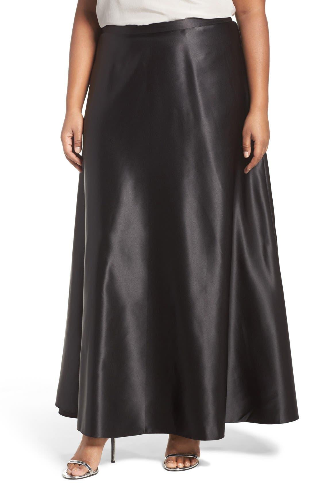 Satin Long Circle Skirt,                         Main,                         color, Black
