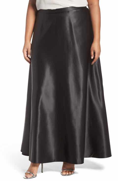 Alex Evenings Satin Long Circle Skirt (Plus Size)
