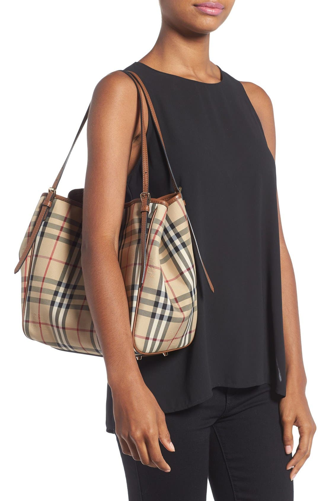 Alternate Image 2  - Burberry Small Canter Check & Leather Tote