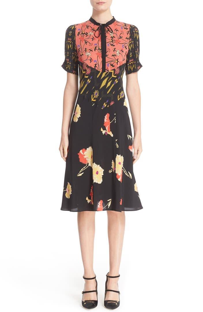 Etro Kimono Floral Print Silk Dress Nordstrom