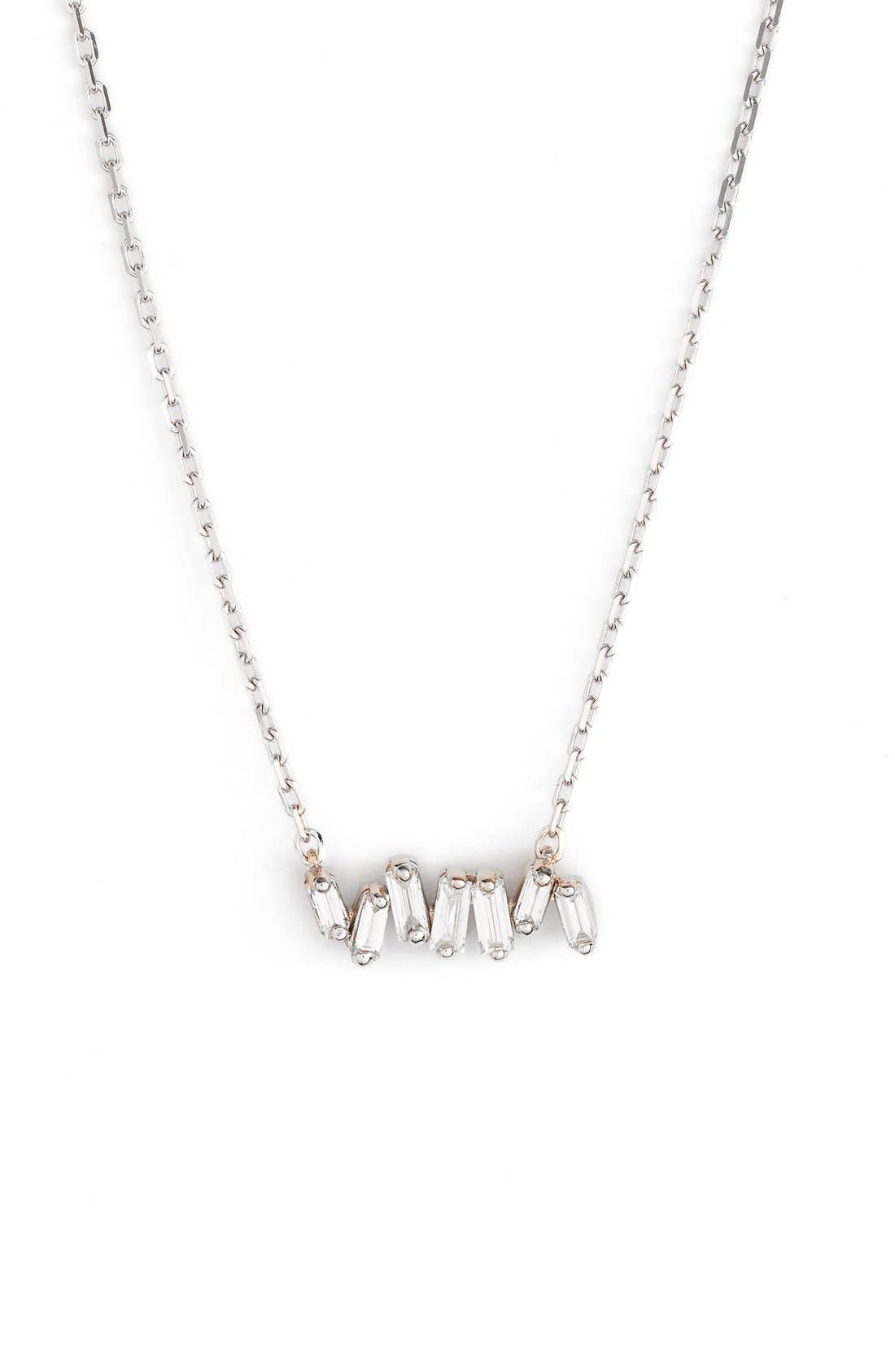 SUZANNE KALAN Fireworks Diamond Baguette Mini Bar Pendant Necklace