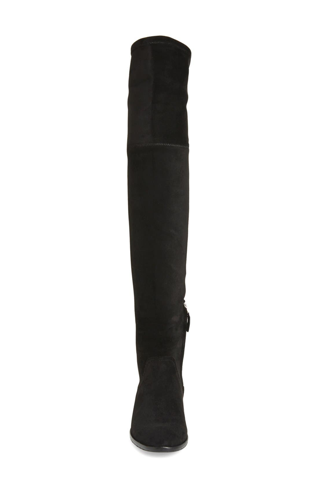 'Neely' Over the Knee Boot,                             Alternate thumbnail 3, color,                             Black Stretch Suede