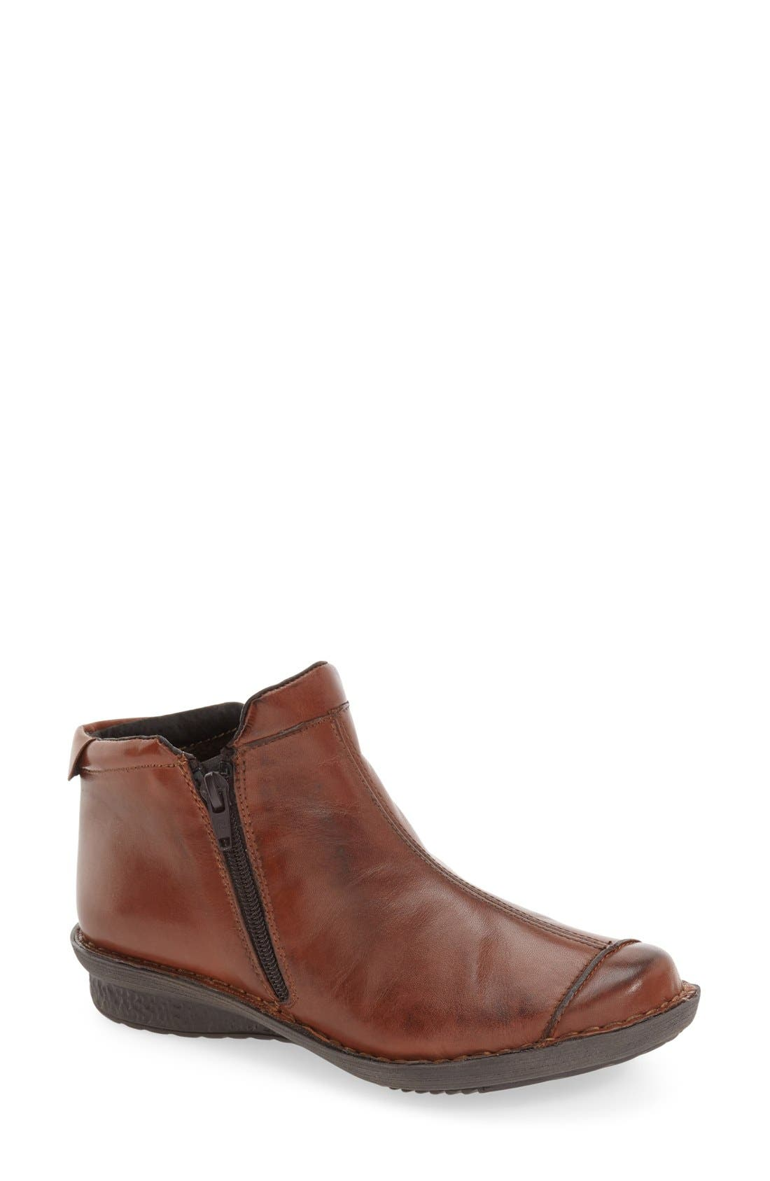 'Euro' Zip Bootie,                         Main,                         color, Luggage Leather