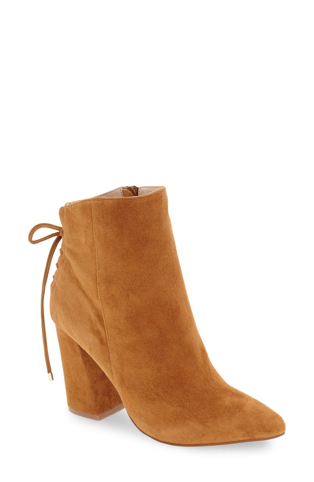 'Siren' Pointy Toe Bootie,                             Main thumbnail 1, color,                             Caramel Suede