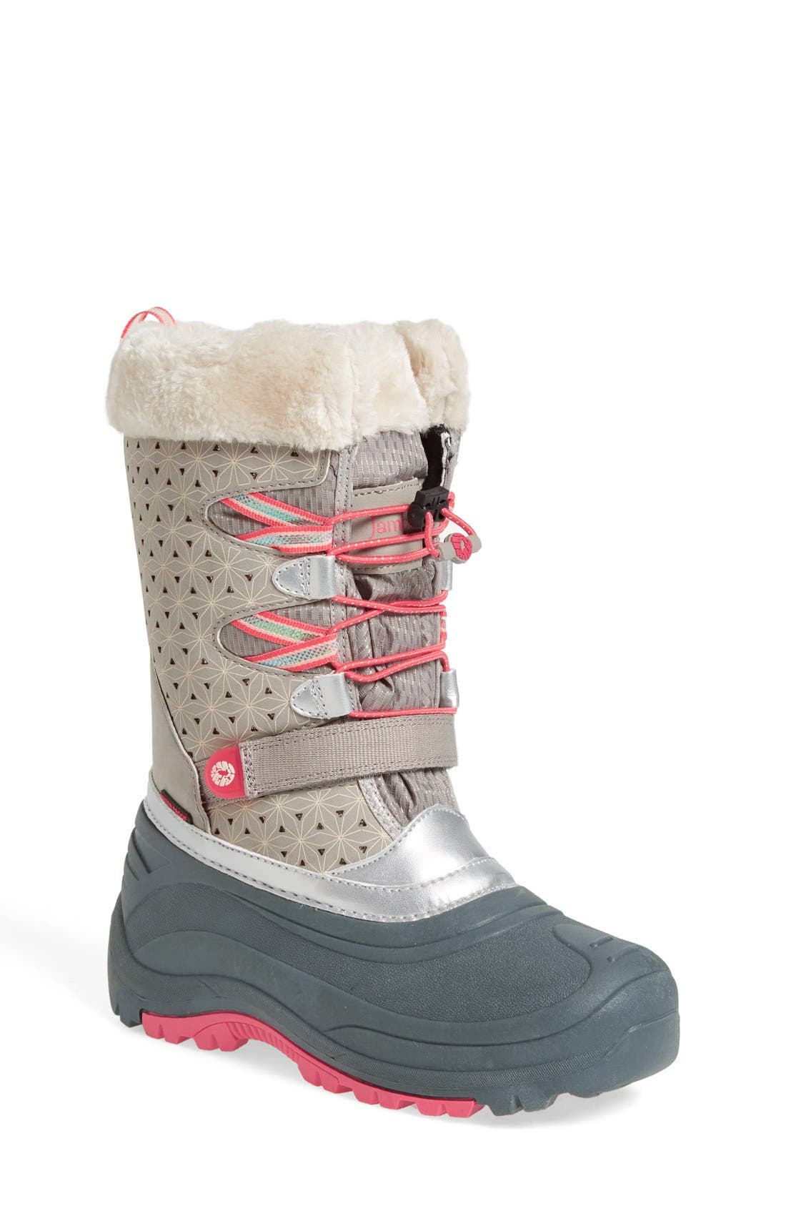 'Venom' Waterproof Insulated Snow Boot,                             Main thumbnail 1, color,                             Grey/ Pink