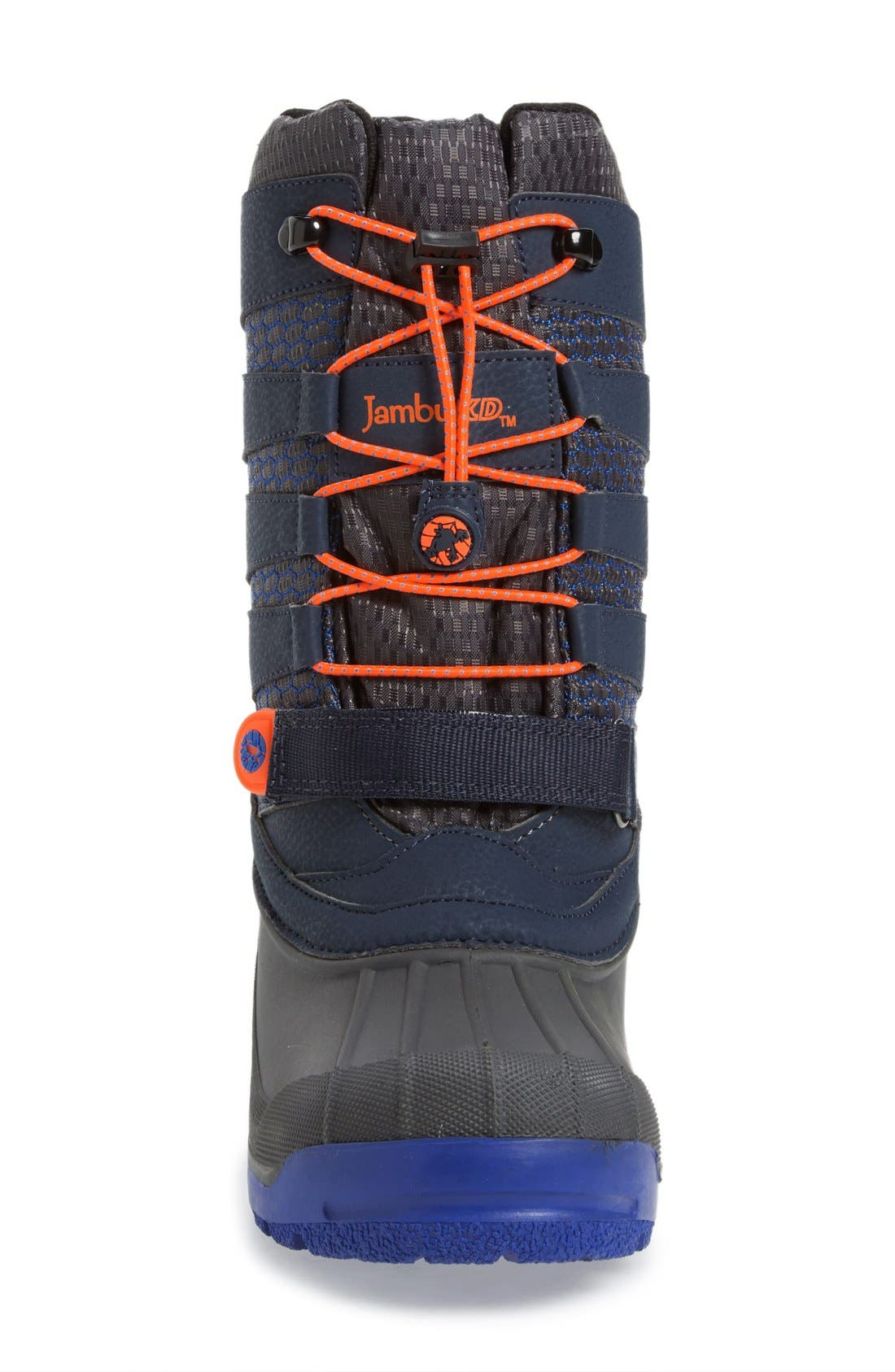 'Venom' Waterproof Insulated Snow Boot,                             Alternate thumbnail 3, color,                             Navy/ Orange