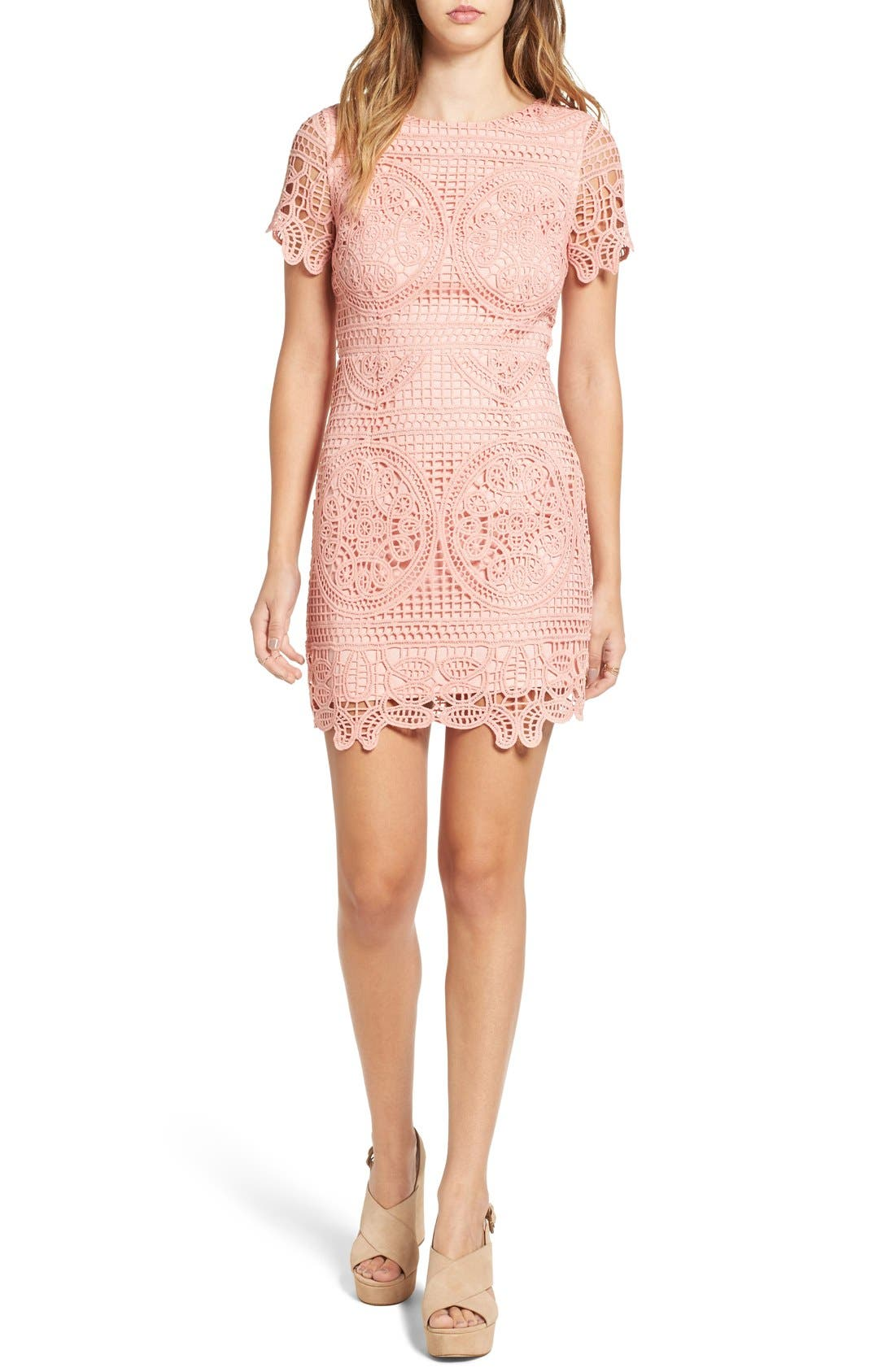 Main Image - J.O.A. Crochet Lace Sheath Dress