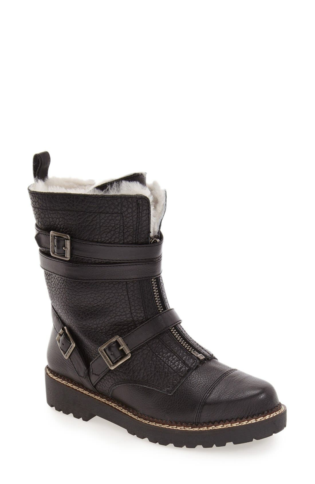 'Pelli' Genuine Shearling Lined Boot,                             Main thumbnail 1, color,                             Black Leather