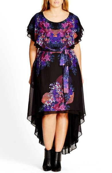 Main Image - City Chic 'Dream Catcher' Belted Floral Print High/Low Dress (Plus Size)