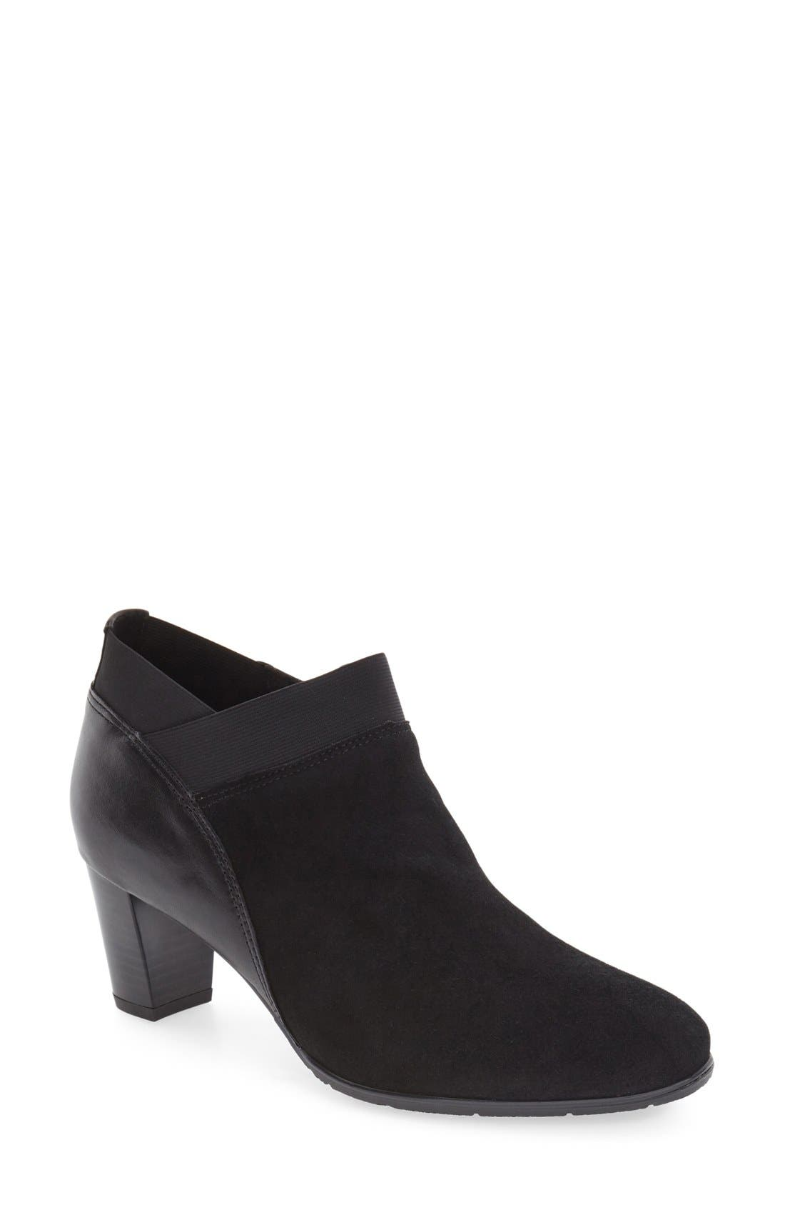'Torrence' Almond Toe Zip Bootie,                             Main thumbnail 1, color,                             Black Suede