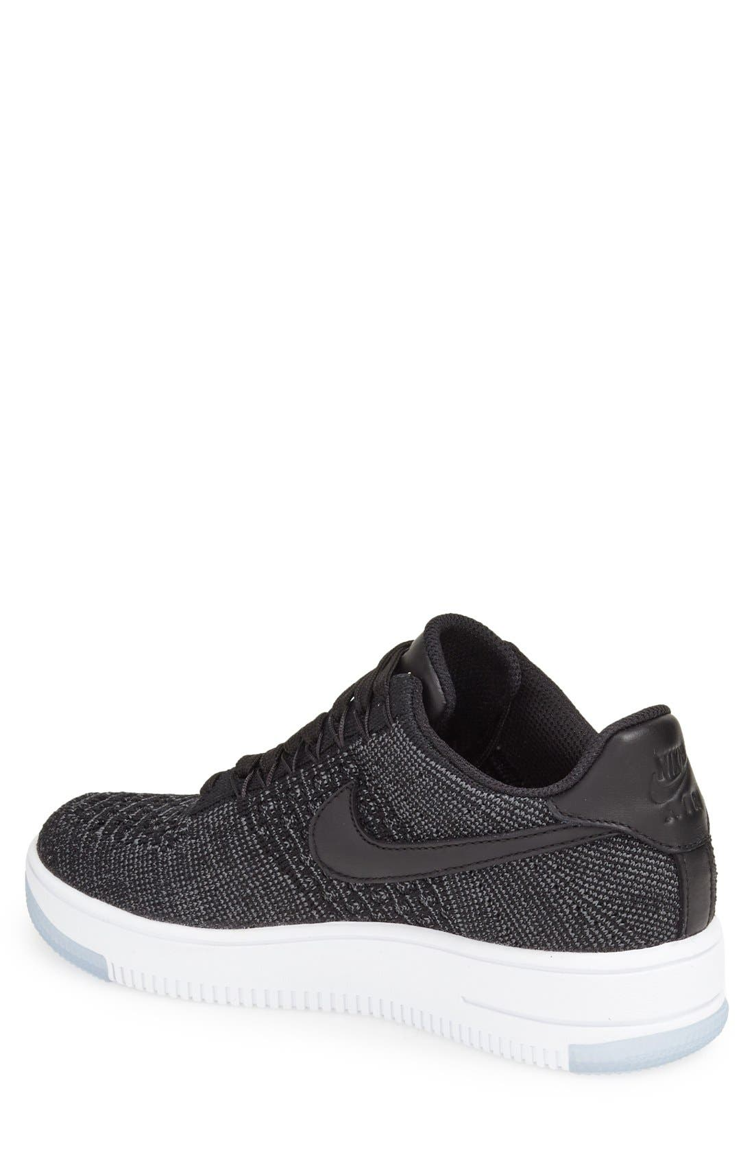 'Air Force 1 Flyknit Low' Sneaker,                             Alternate thumbnail 2, color,                             Black/ Black/ White