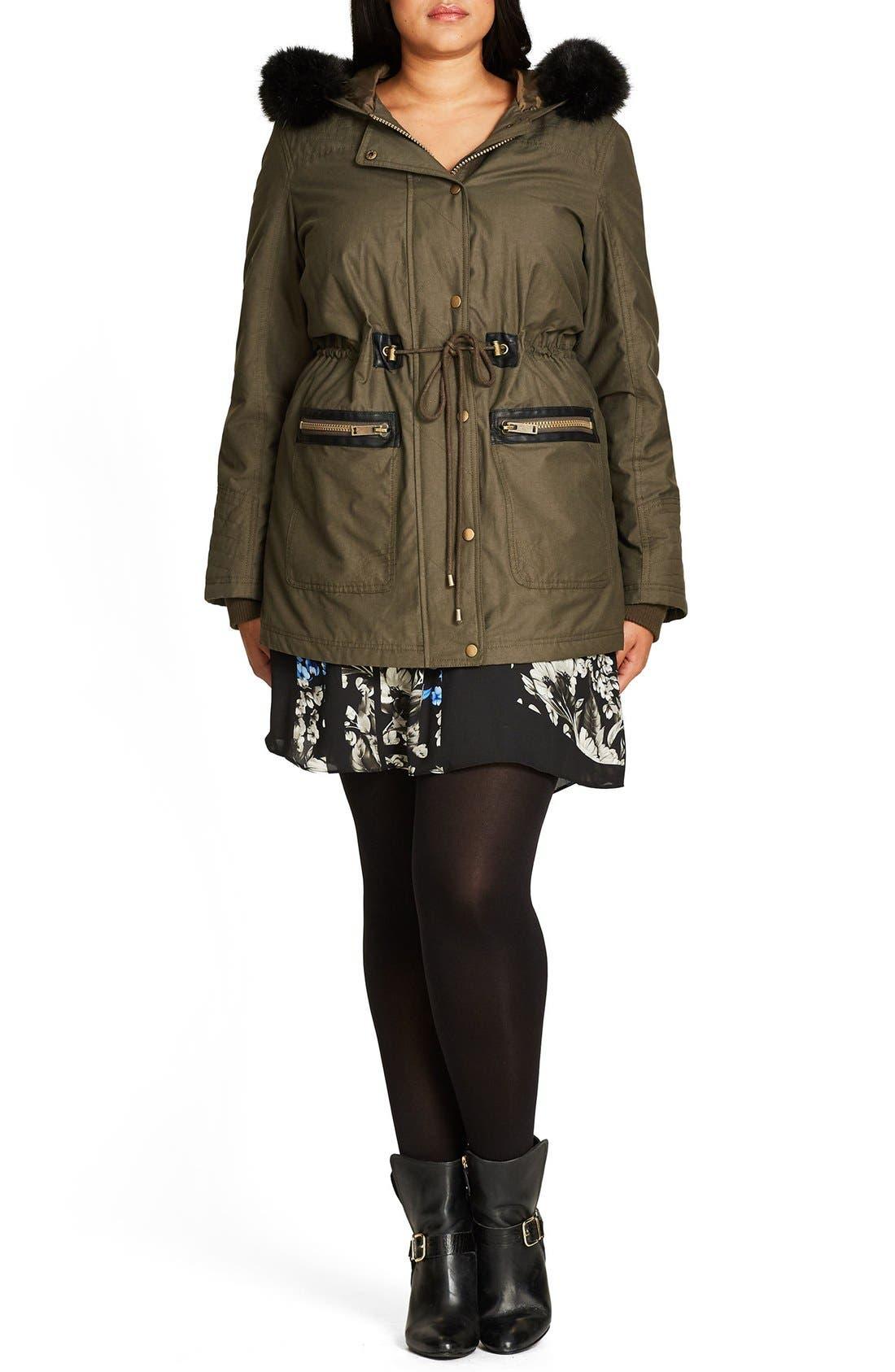 Alternate Image 4  - City Chic Faux Fur & Faux Leather Trim Hooded Drawstring Parka (Plus Size)