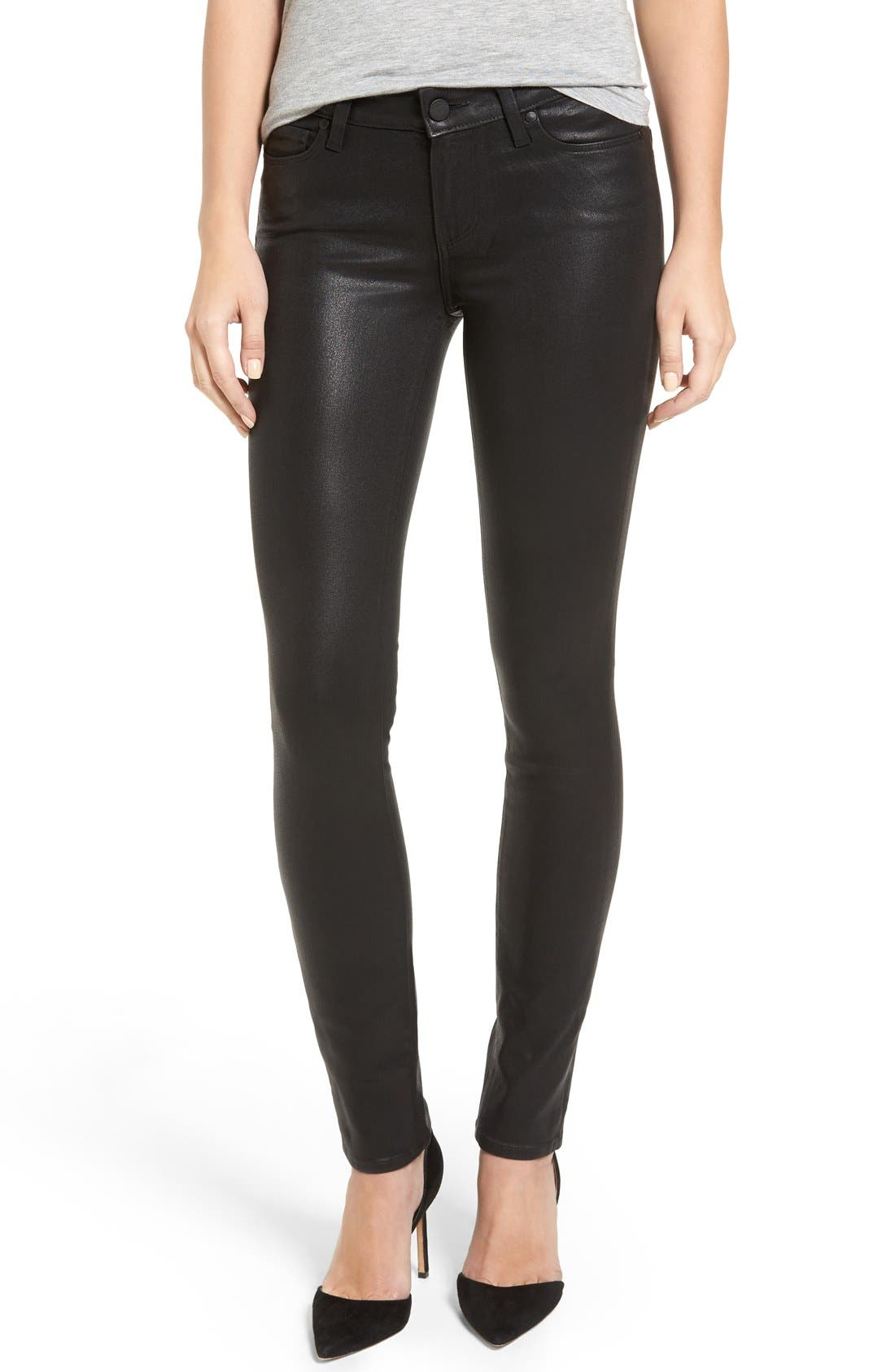 Alternate Image 1 Selected - PAIGE Verdugo Coated Ankle Skinny Jeans (Black Fog Luxe Coated) (Nordstrom Exclusive)