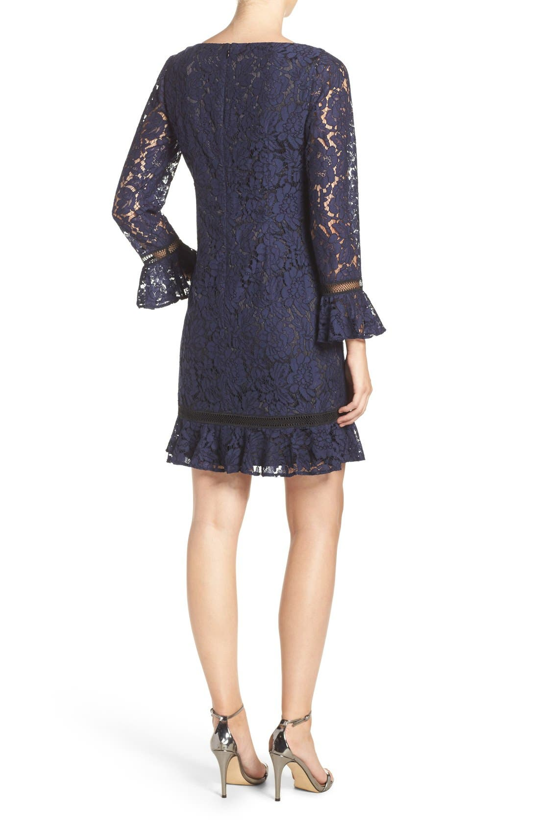 Lace Shift Dress,                             Alternate thumbnail 3, color,                             Navy