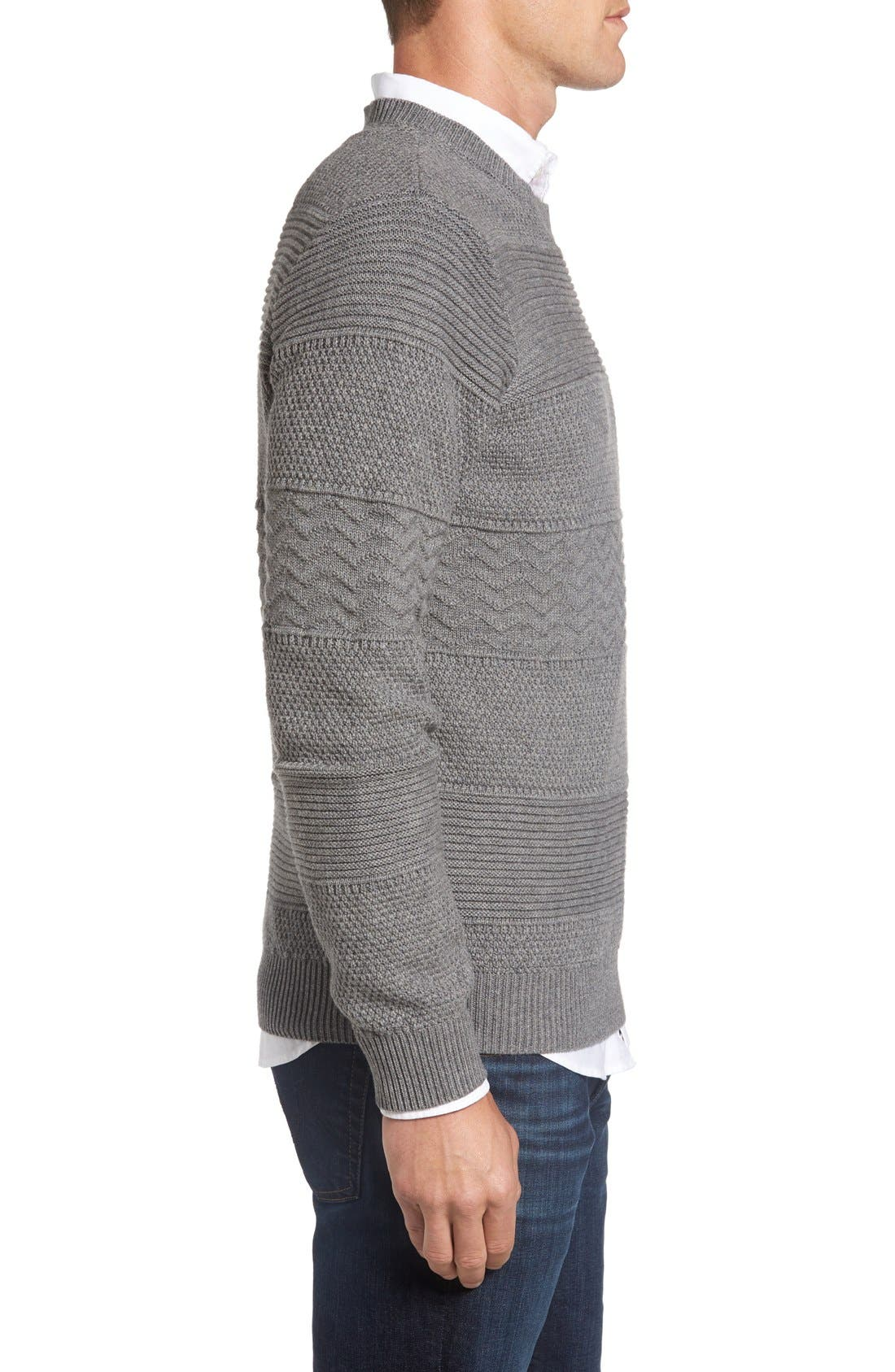 Structure Crewneck Sweater,                             Alternate thumbnail 3, color,                             Grey Melange
