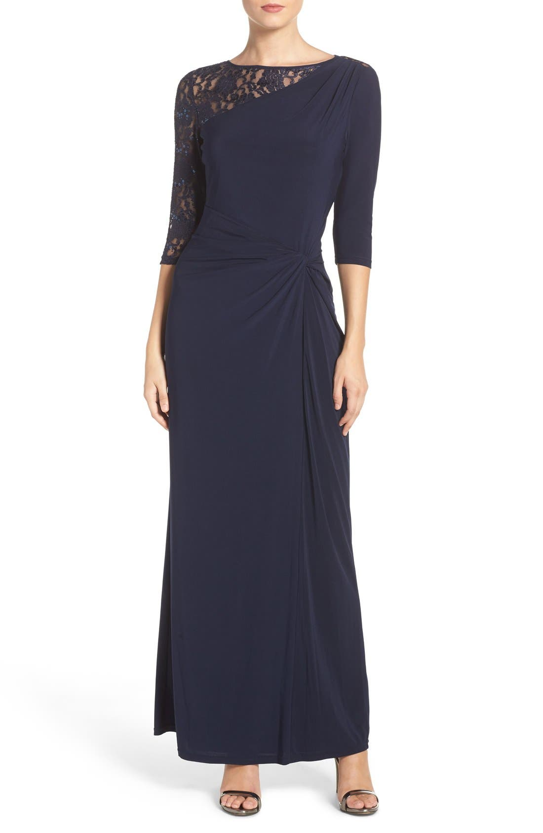 Sequin Lace & Jersey Gown,                             Main thumbnail 1, color,                             Navy