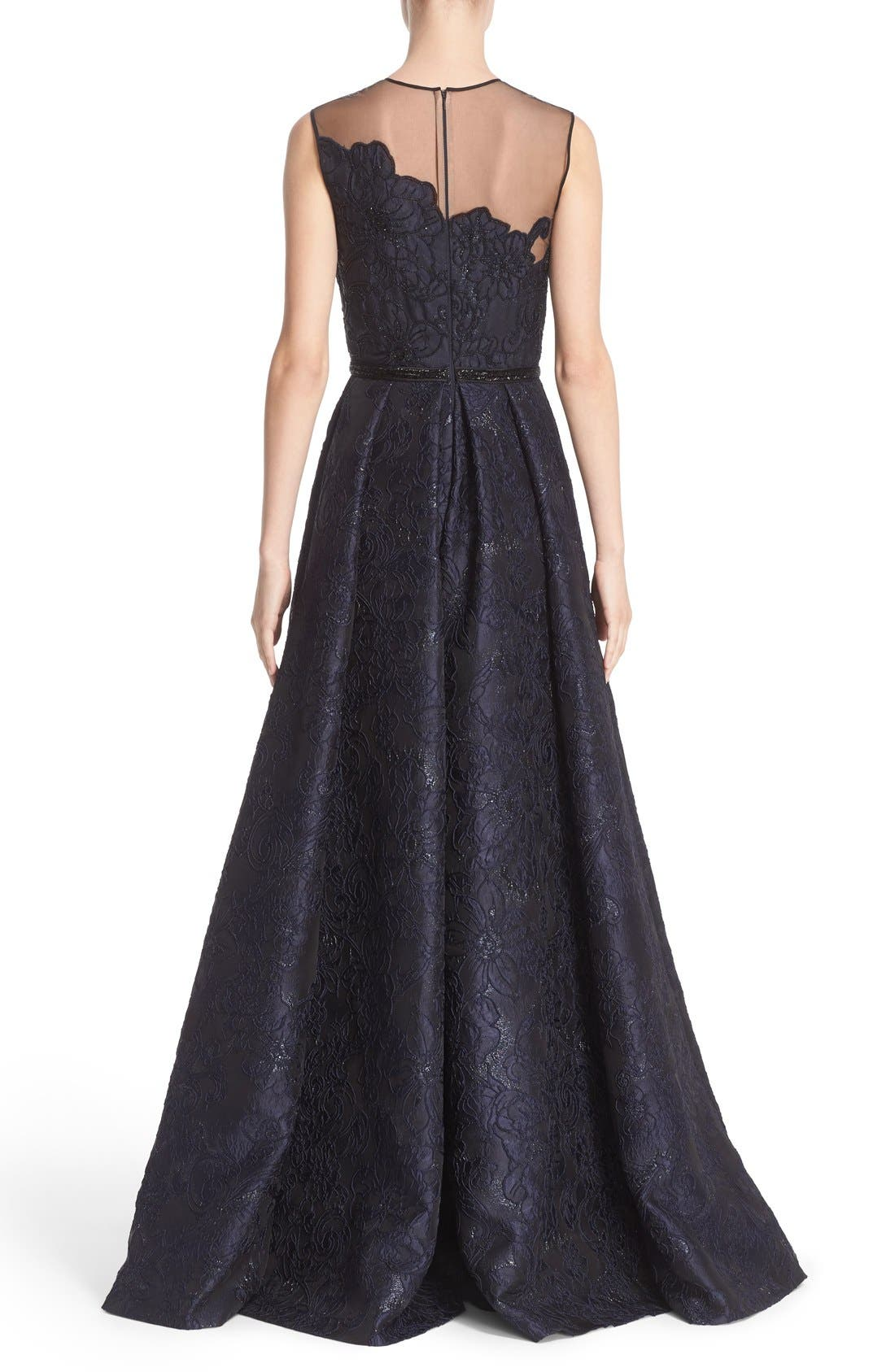 Illusion Yoke Embroidered Jacquard A-Line Gown,                             Alternate thumbnail 2, color,                             Midnight