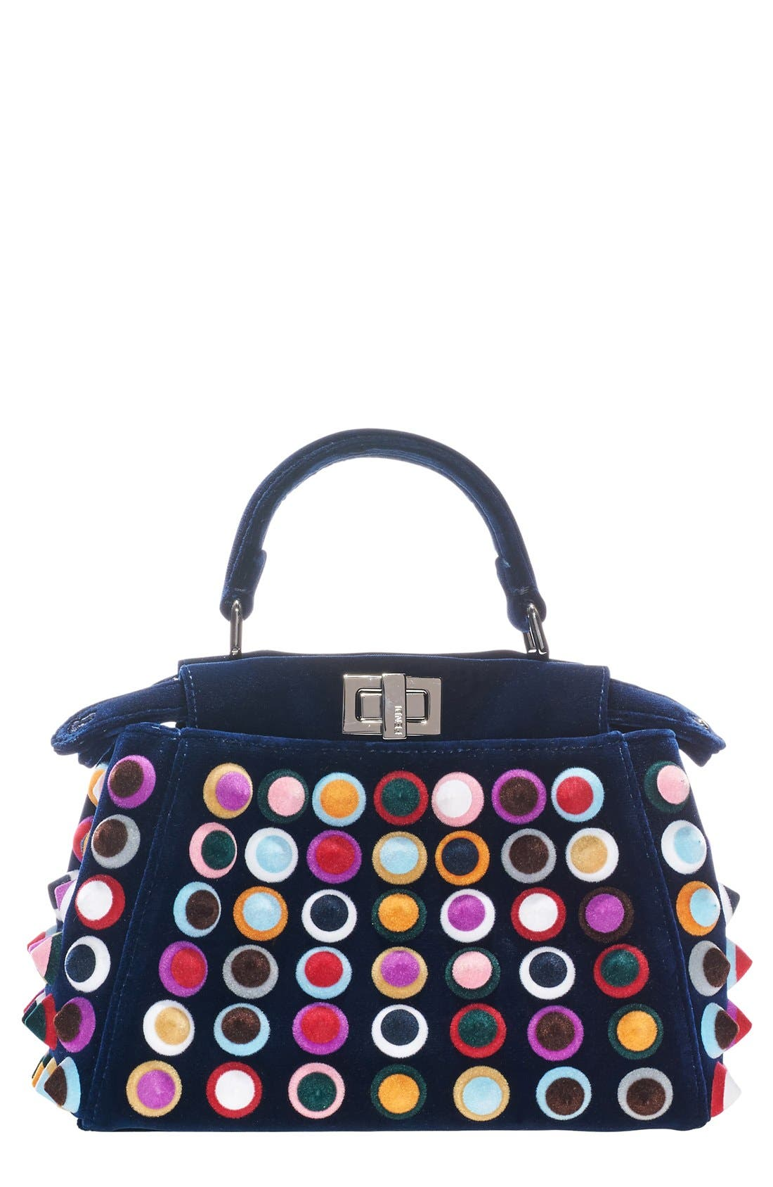 'MINI PEEKABOO - MULTISTUDS' VELVET BAG - BLUE