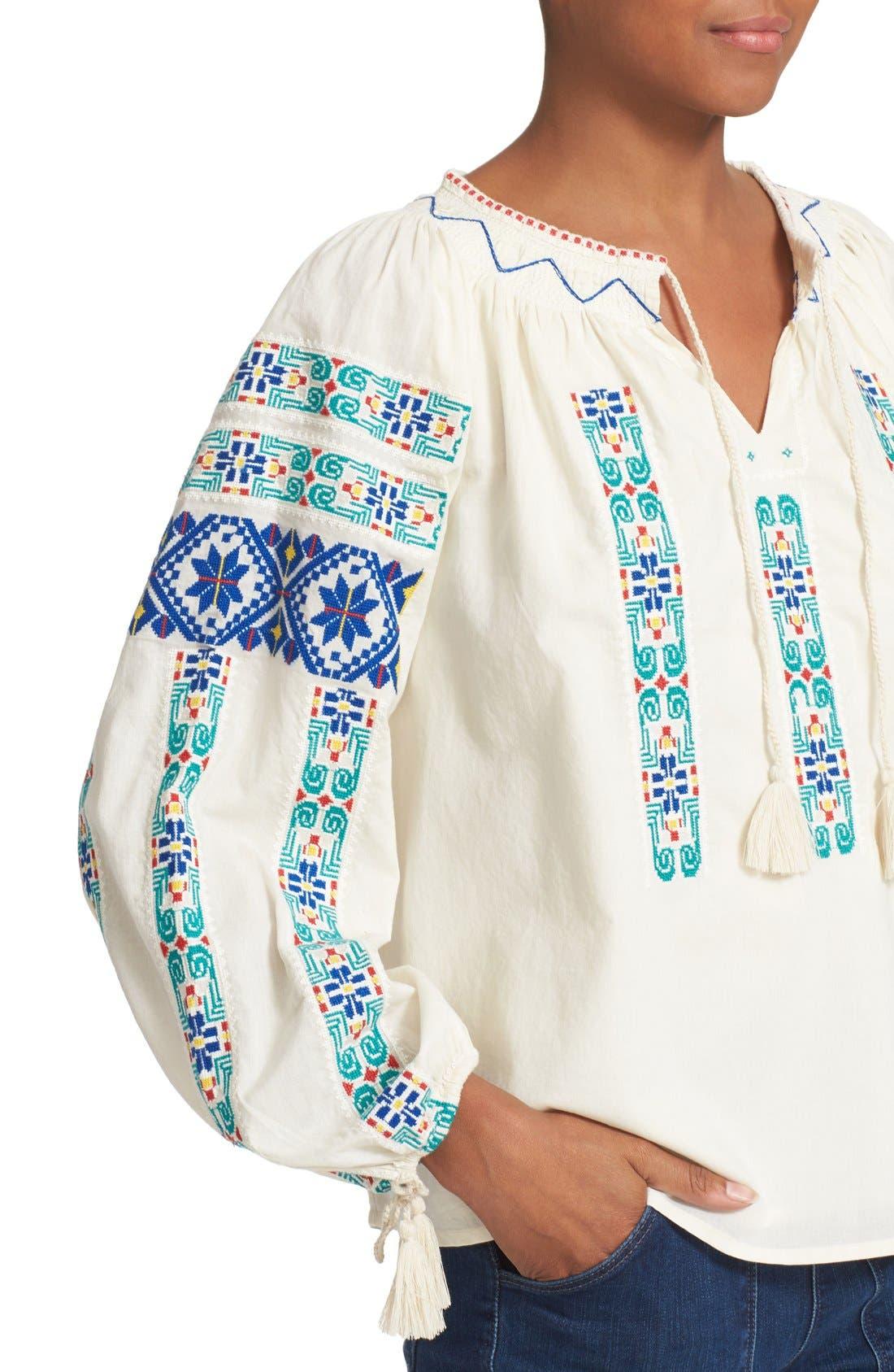 Alternate Image 4  - Sea Embroidered Peasant Blouse