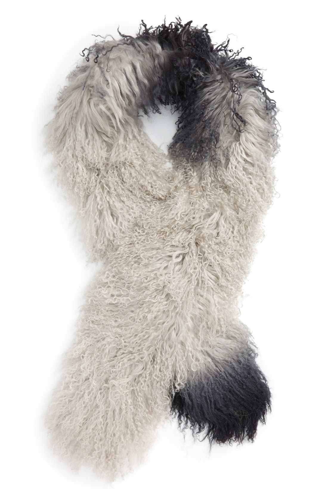 Genuine Mongolian Lamb Fur Scarf,                         Main,                         color, Ombre Grey/ Black