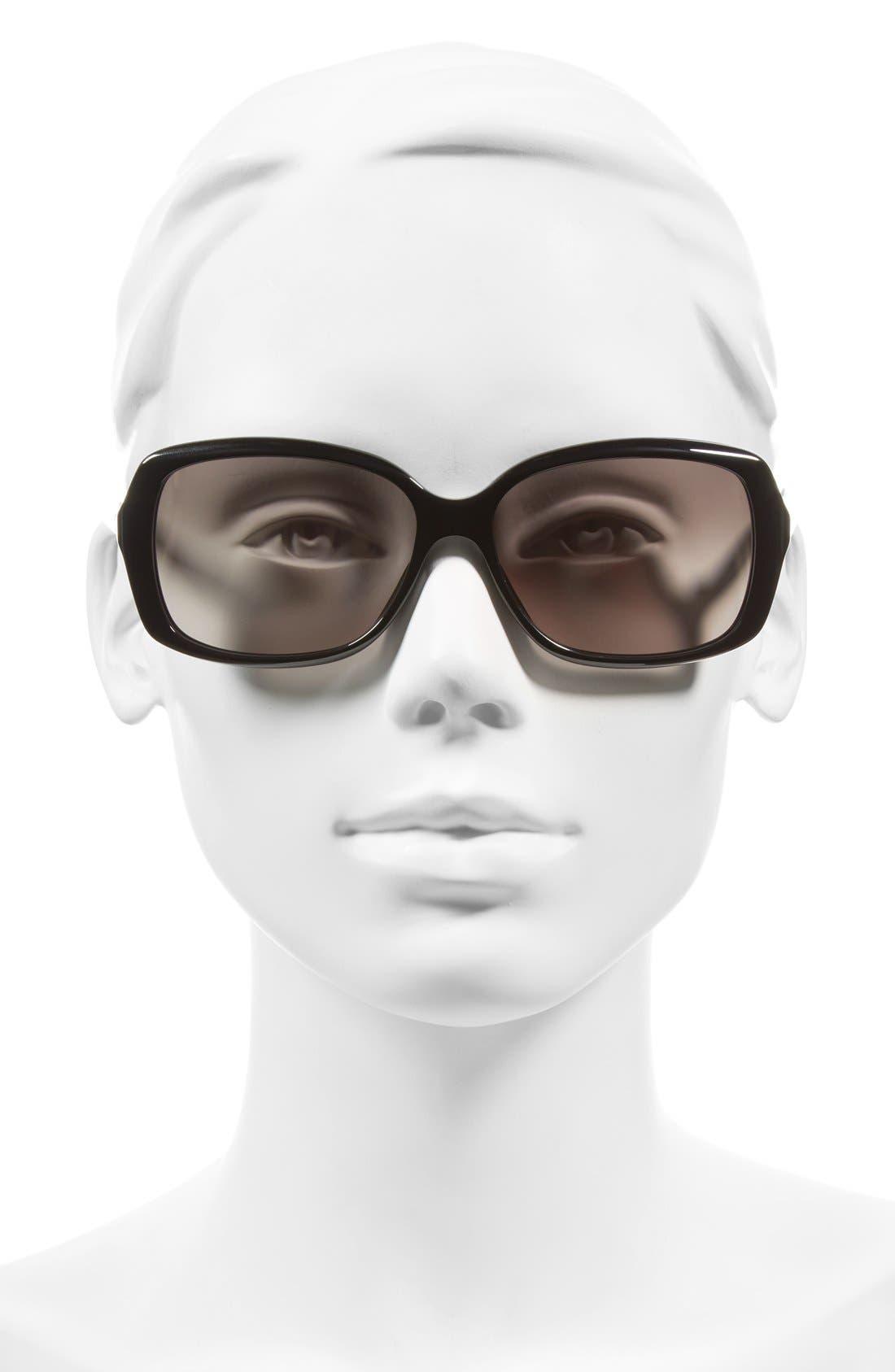 MARC JACOBS 57mm Sunglasses,                             Alternate thumbnail 2, color,                             Black