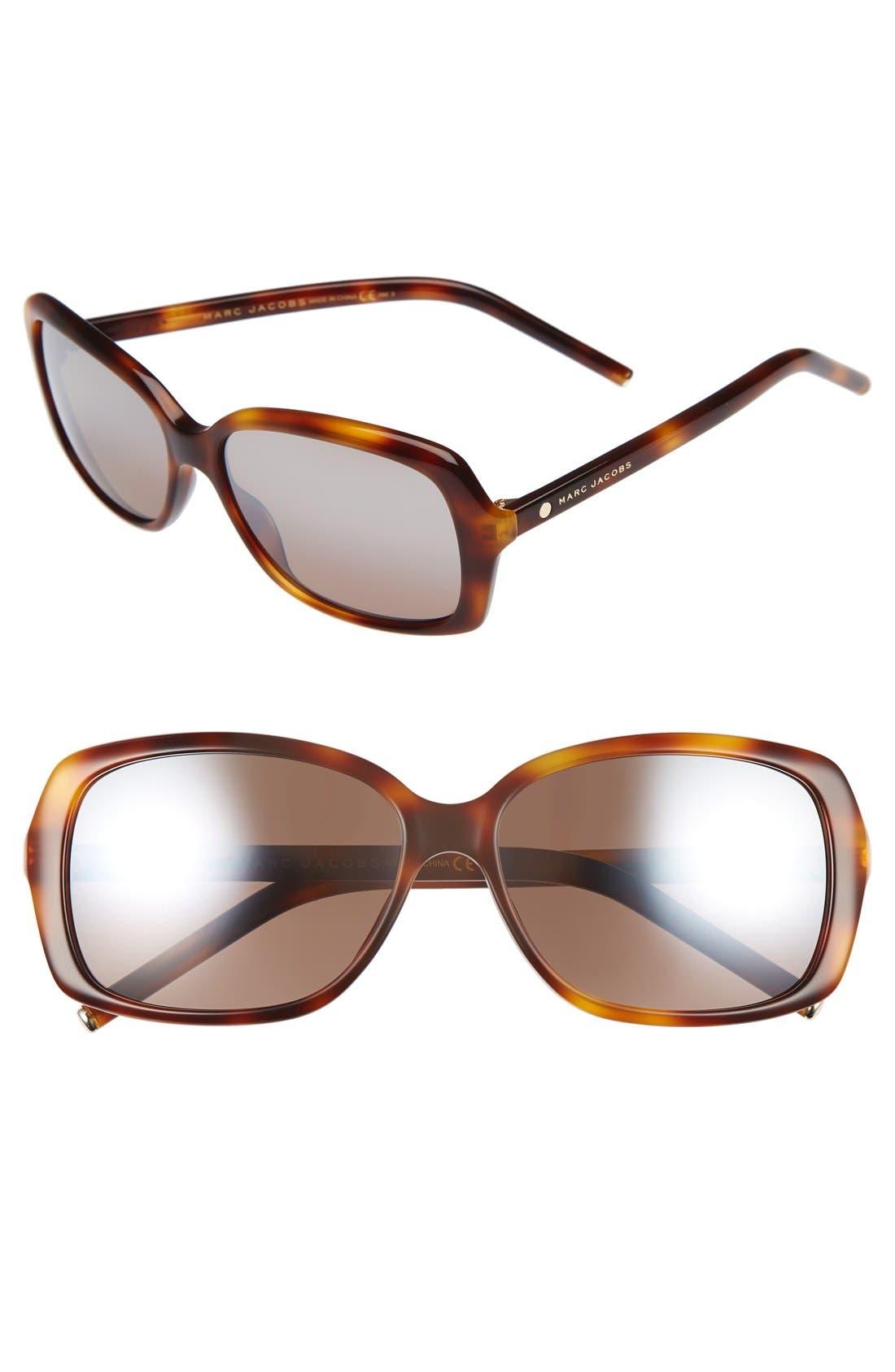 MARC JACOBS 57mm Sunglasses,                         Main,                         color, Havana