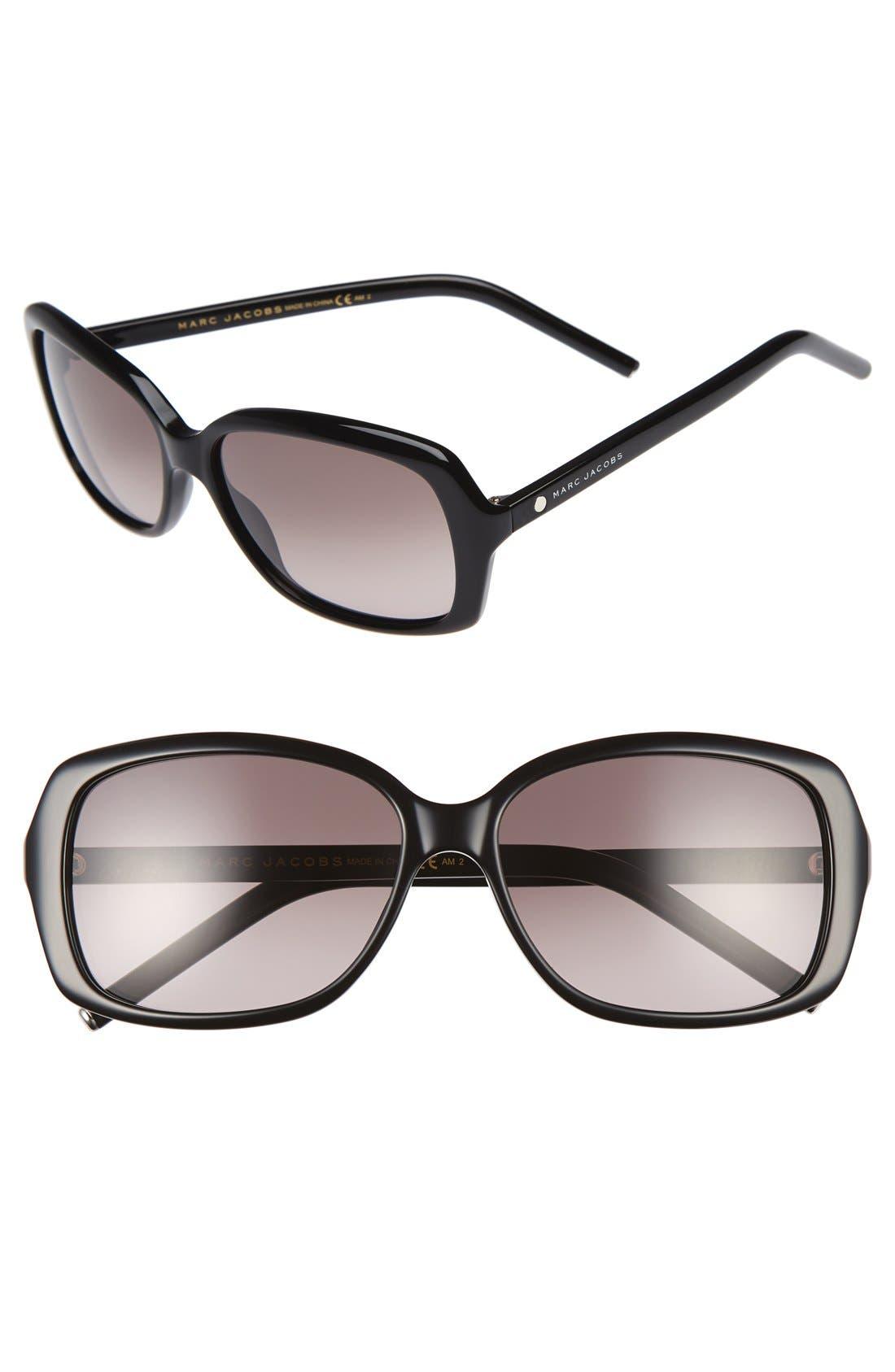 MARC JACOBS 57mm Sunglasses,                             Main thumbnail 1, color,                             Black