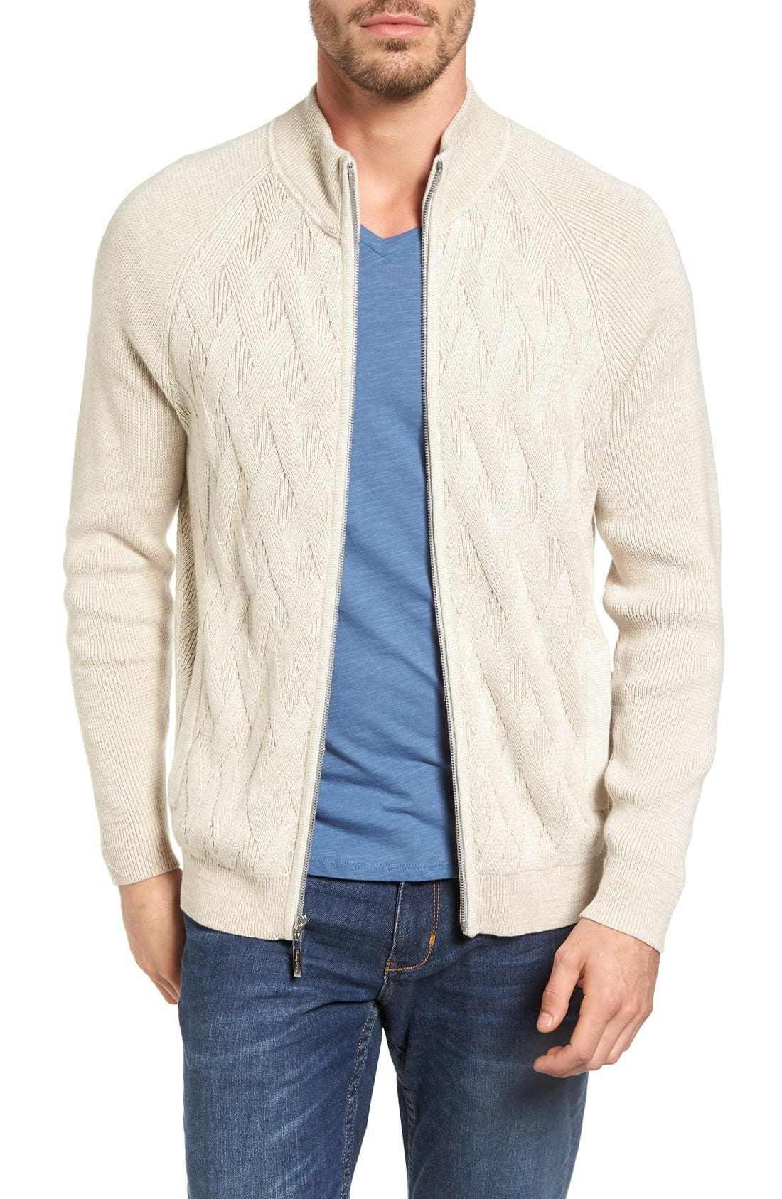 Alternate Image 1 Selected - Tommy Bahama Ocean Crest Zip Cardigan