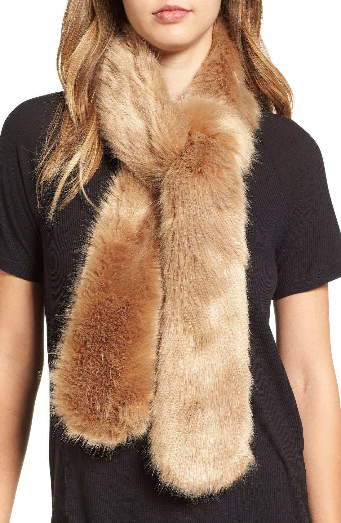Faux Fur Stole,                         Main,                         color, Natural