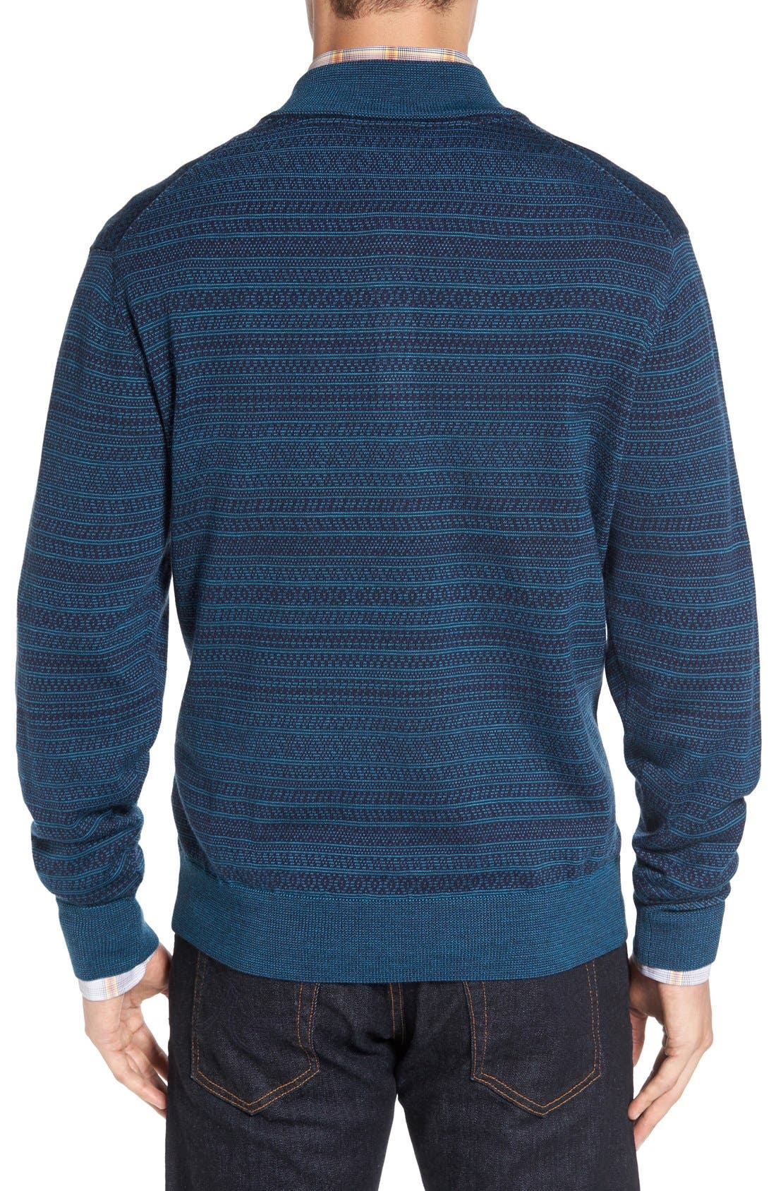 Alternate Image 2  - Cutter & Buck 'Douglas Forest' Jacquard Wool Blend Sweater (Big & Tall)