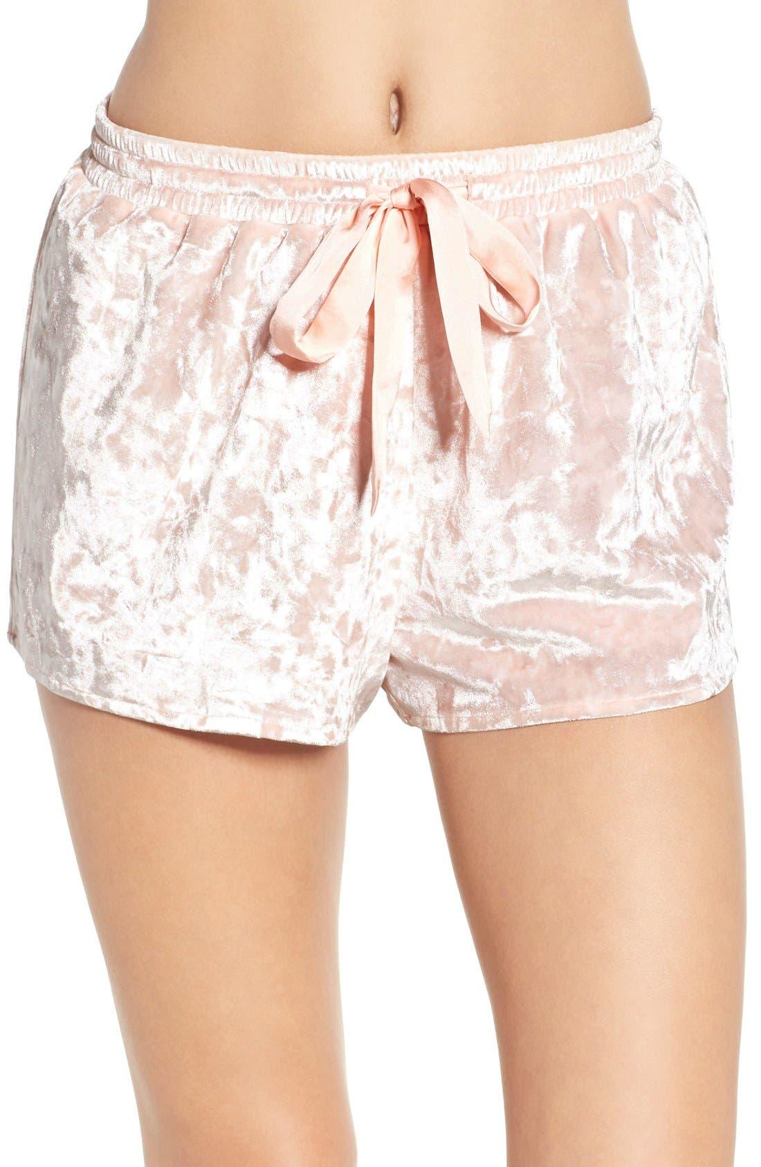 Crushed Velvet Shorts,                             Main thumbnail 1, color,                             Pink Wood