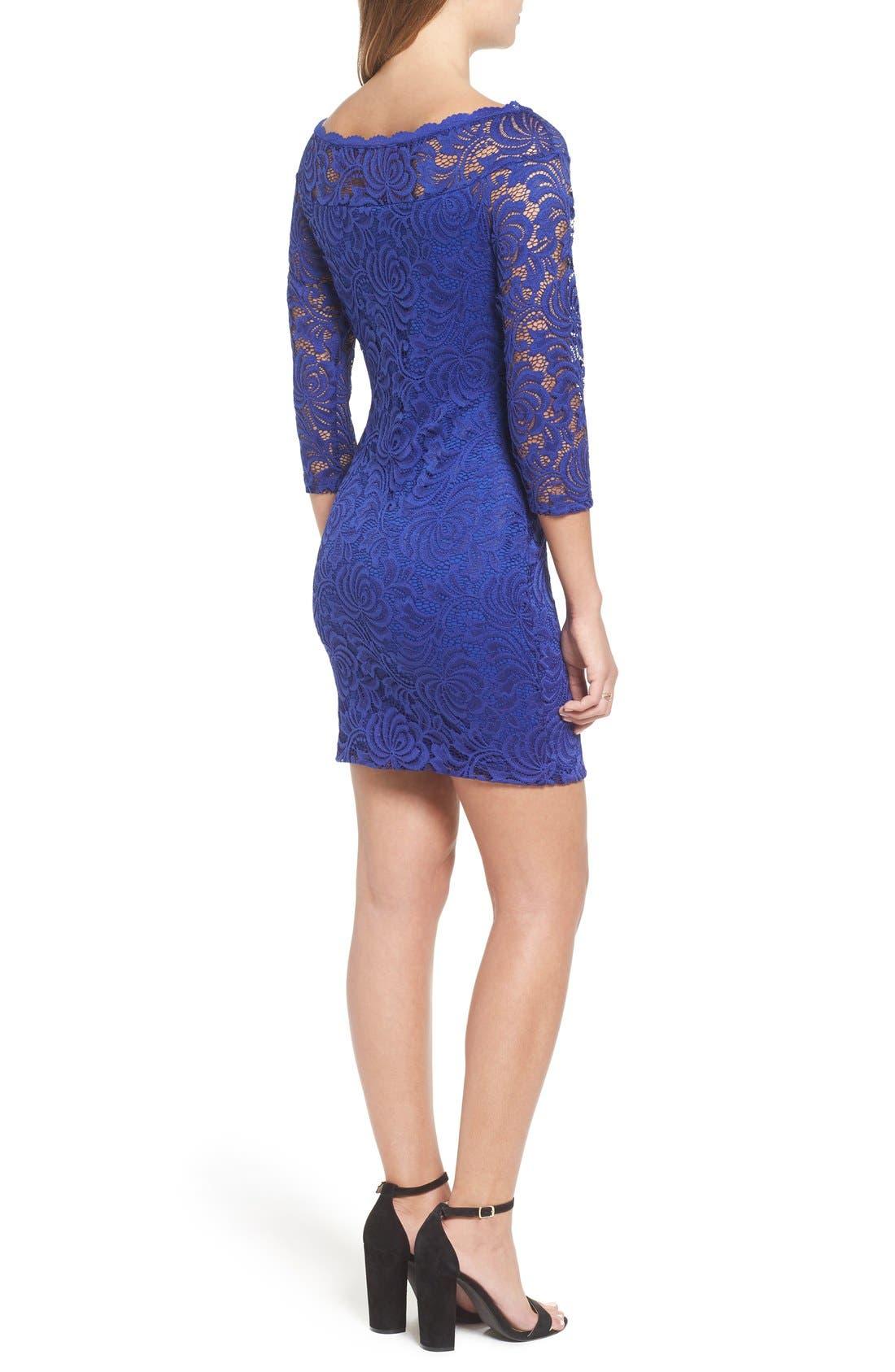 Alternate Image 2  - Secret Charm Bateau Neck Lace Body-Con Dress