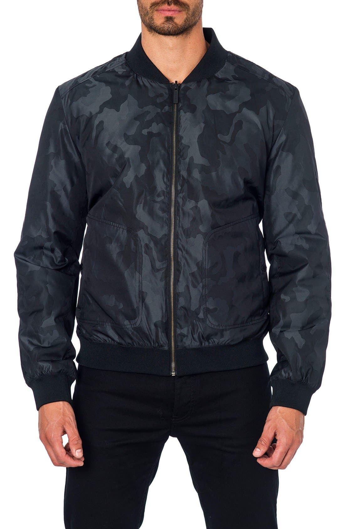 New York Reversible Bomber Jacket,                             Main thumbnail 1, color,                             Black Camo/ Black Quilted