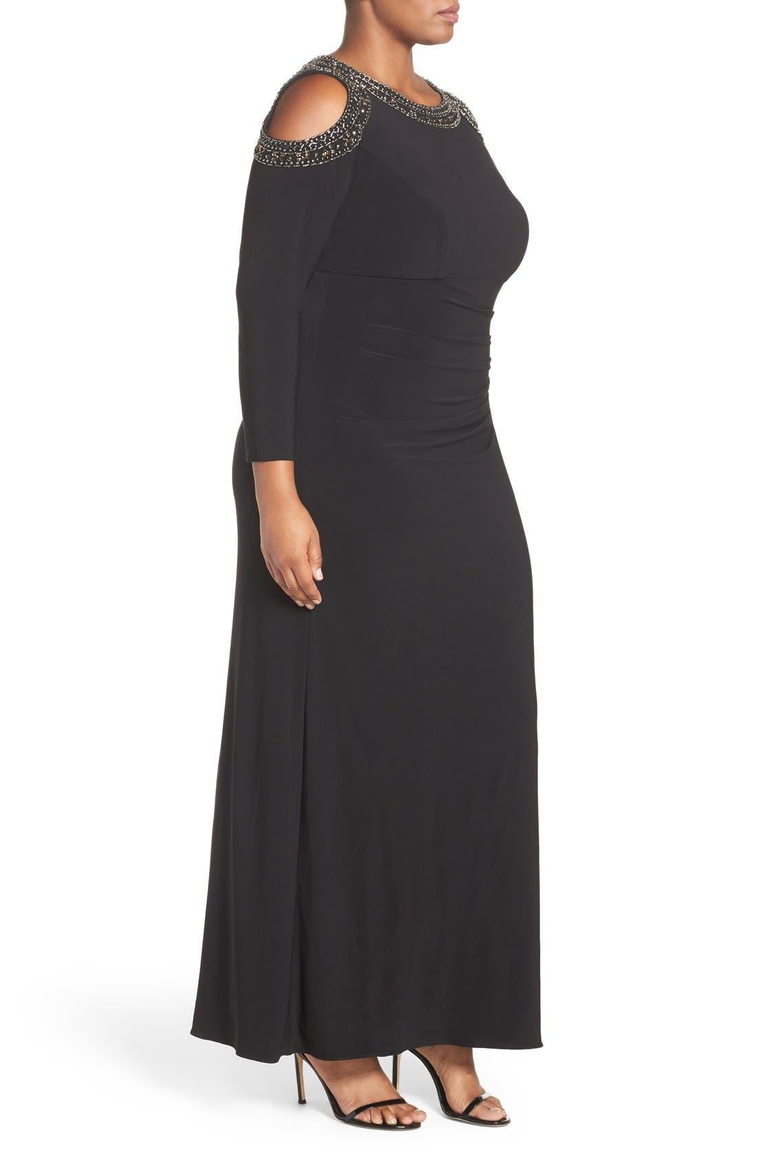 Embellished Cold Shoulder Shirred Jersey Gown,                             Alternate thumbnail 3, color,                             Black/ Gold