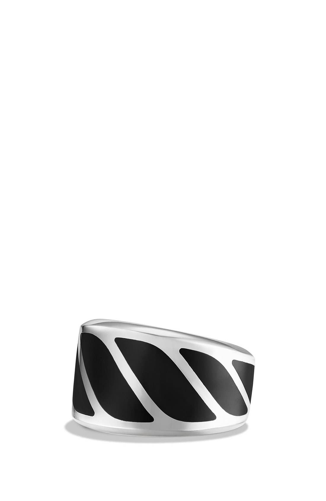 'Graphic Cable' Band Ring,                         Main,                         color, Silver/ Black Onyx