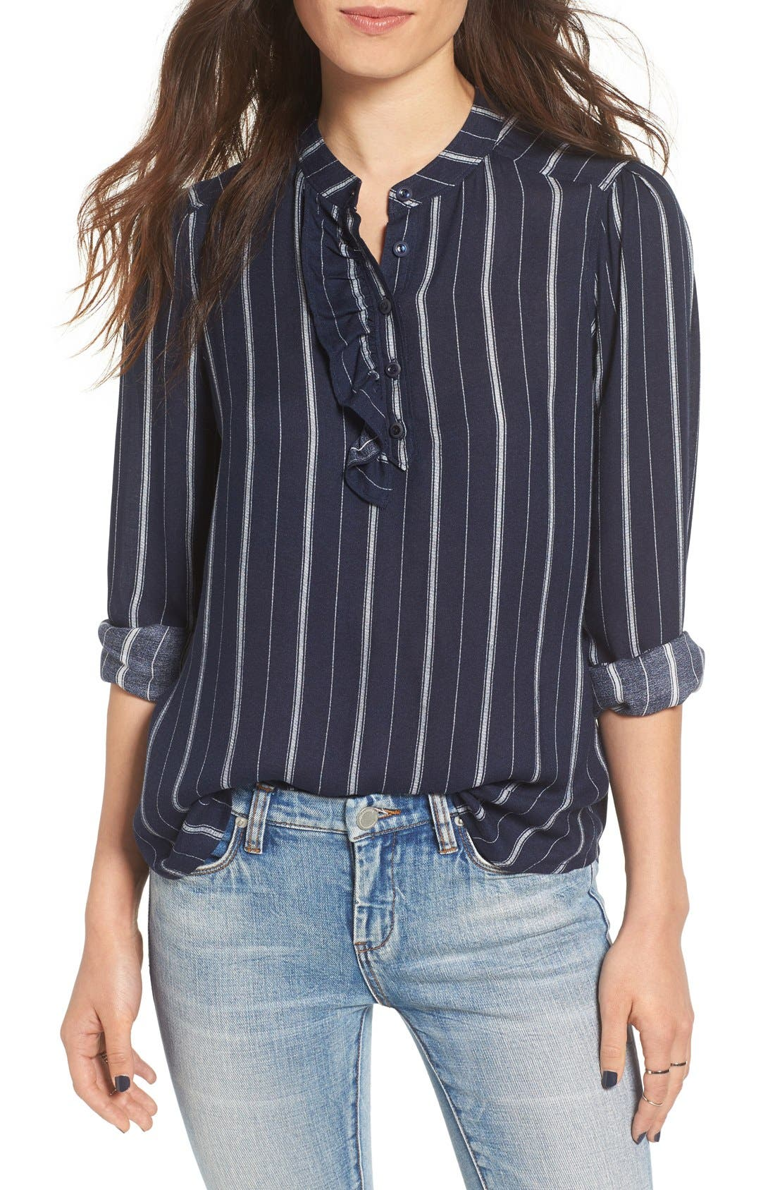 Alternate Image 1 Selected - BP. Stripe Ruffle Popover Shirt
