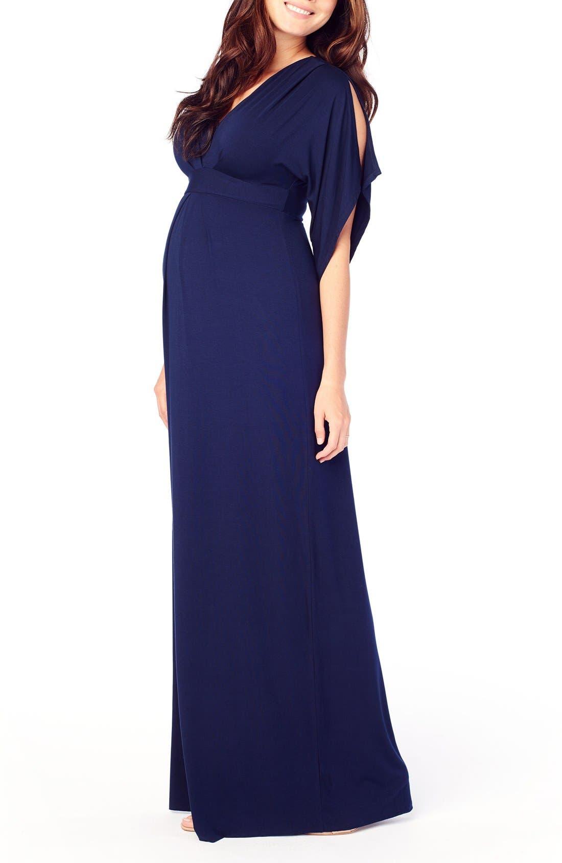 Ingrid & Isabel Split Kimono Sleeve Maternity Maxi Dress,                             Alternate thumbnail 3, color,                             True Navy