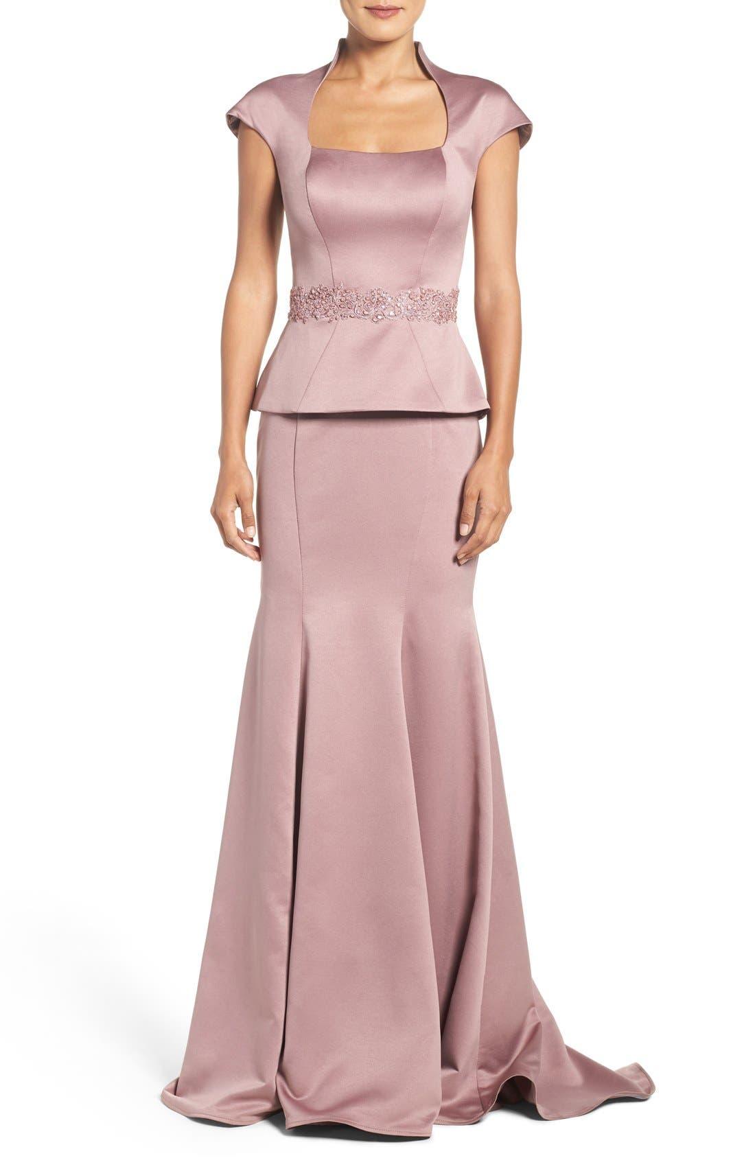 Main Image - La Femme Mock Two-Piece Satin Gown