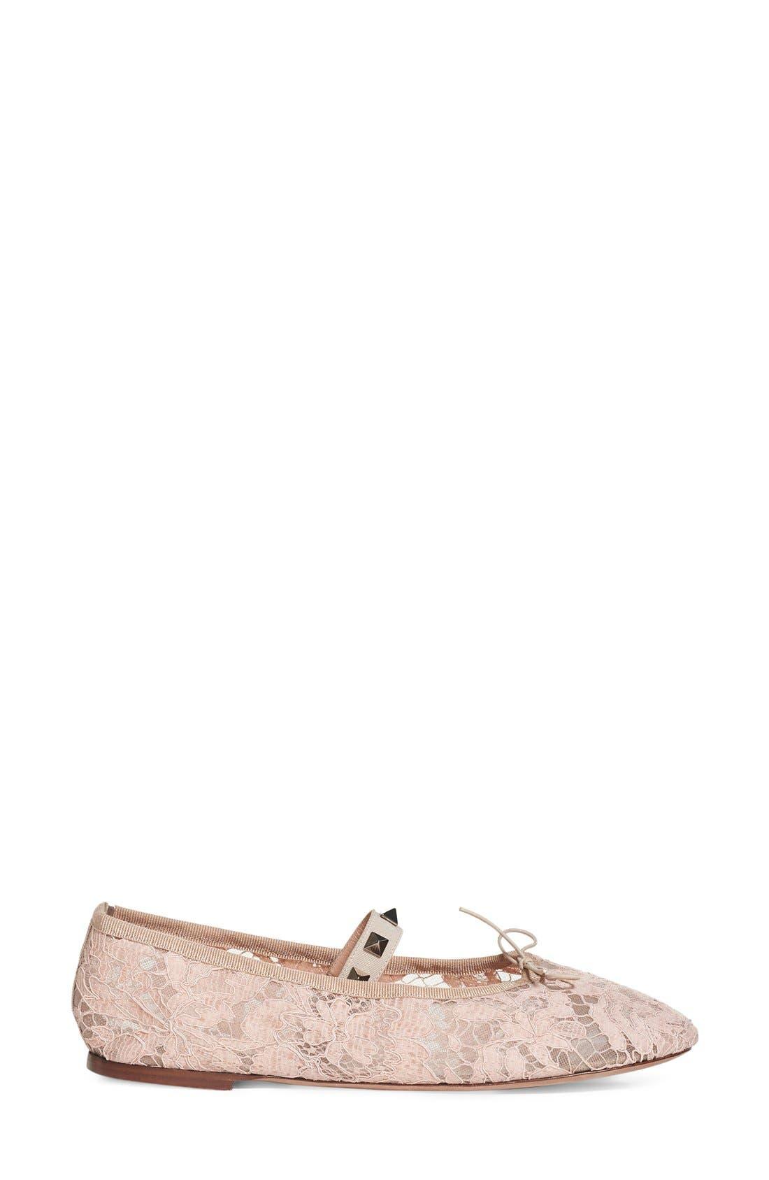 Alternate Image 2  - Valentino 'Rockstud' Lace Ballet Flat (Women)
