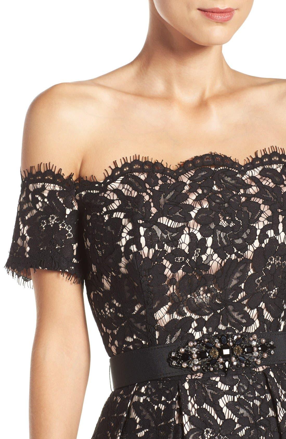 Alternate Image 5  - Eliza J Embellished Lace Fit & Flare Dress (Regular & Petite)
