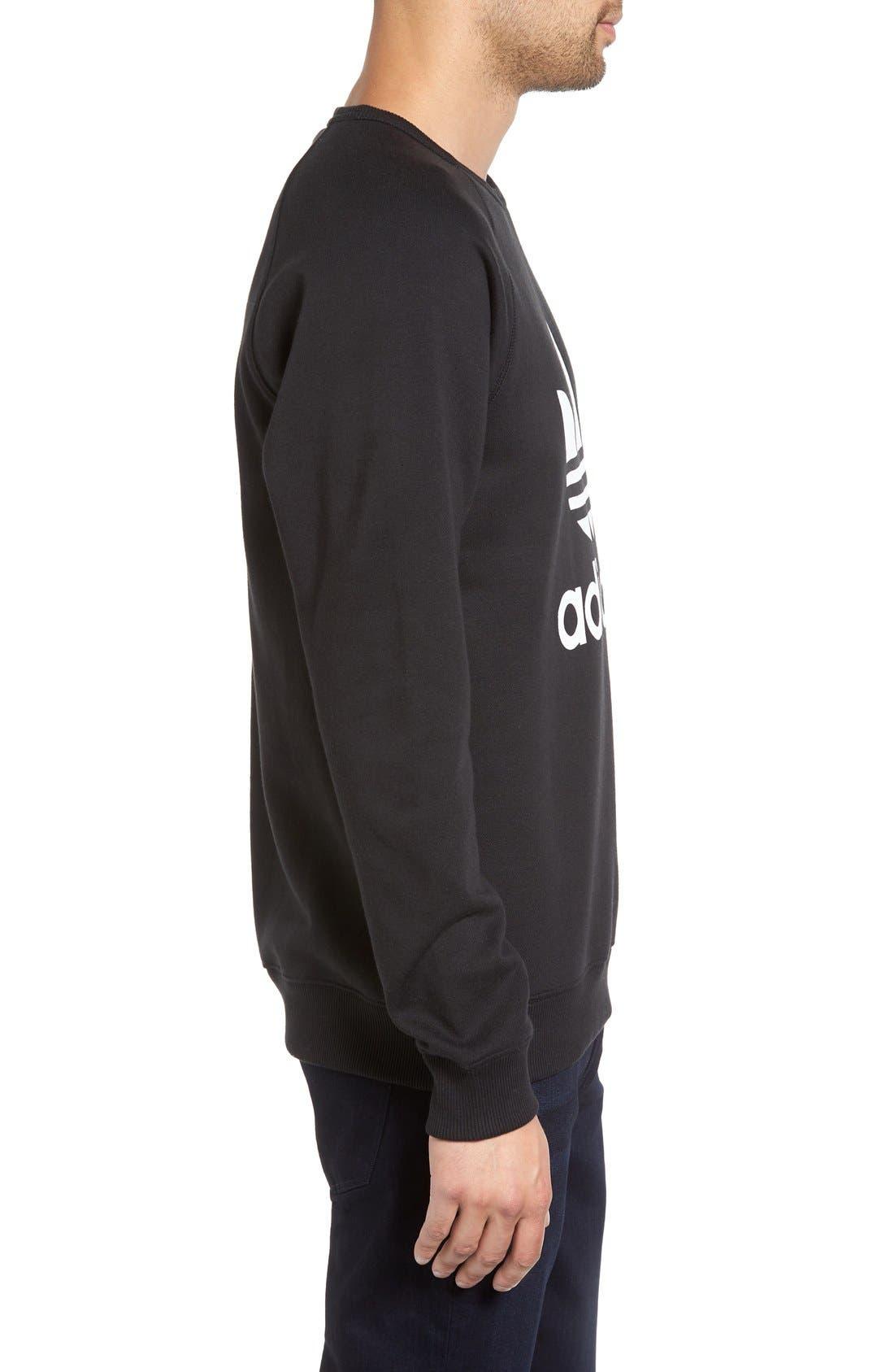 Slim Fit Trefoil Logo Crewneck Sweatshirt,                             Alternate thumbnail 3, color,                             Black