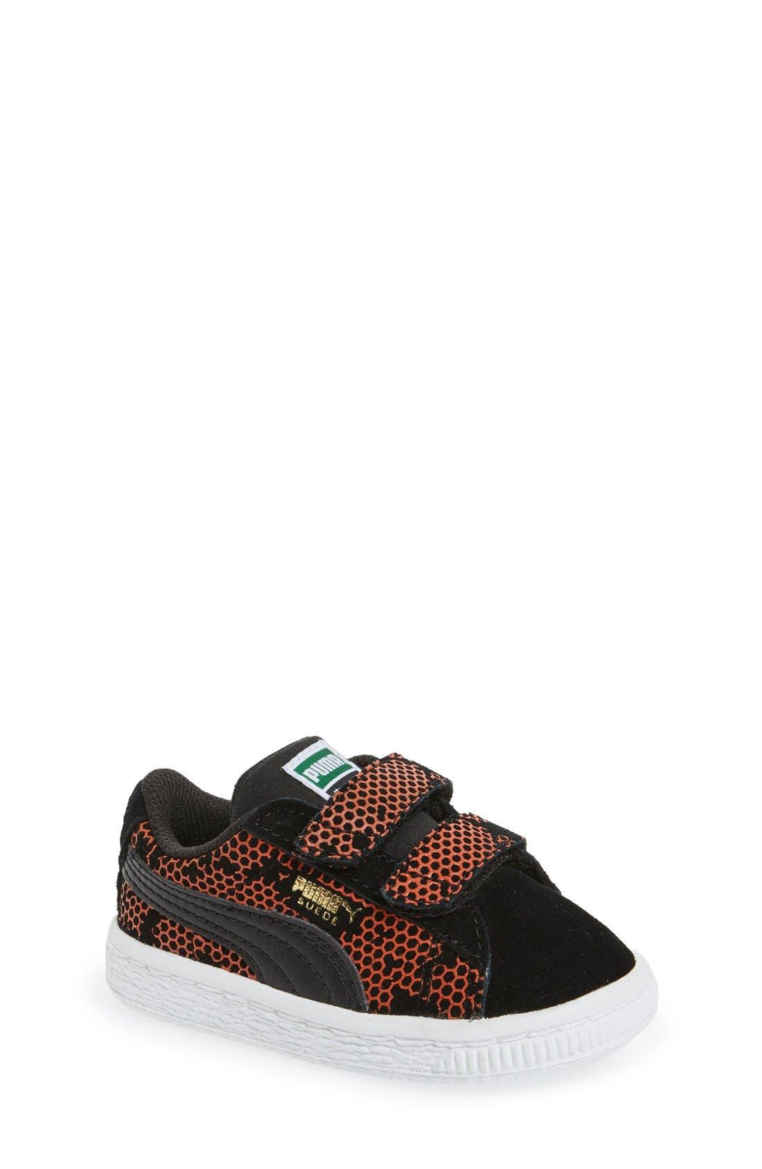 'Night Camo' Sneaker,                         Main,                         color, Puma Black/ Mandarine Red