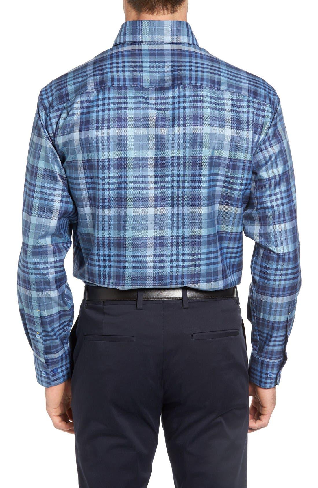 'Anderson' Classic Fit Plaid Sport Shirt,                             Alternate thumbnail 2, color,                             Maritime