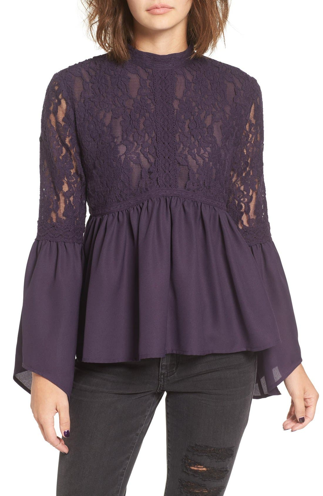 Alternate Image 1 Selected - Sun & Shadow Lace Inset Peplum Top
