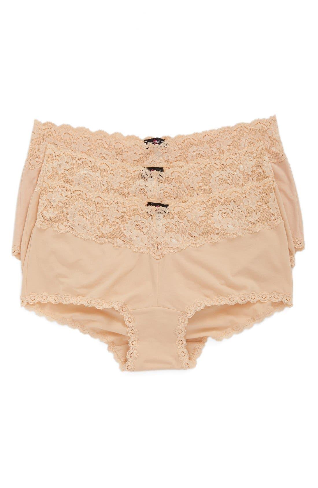 Main Image - Cosabella 'Cheekie' Lace Trim Briefs (Plus Size) (3-Pack) (Online Only)