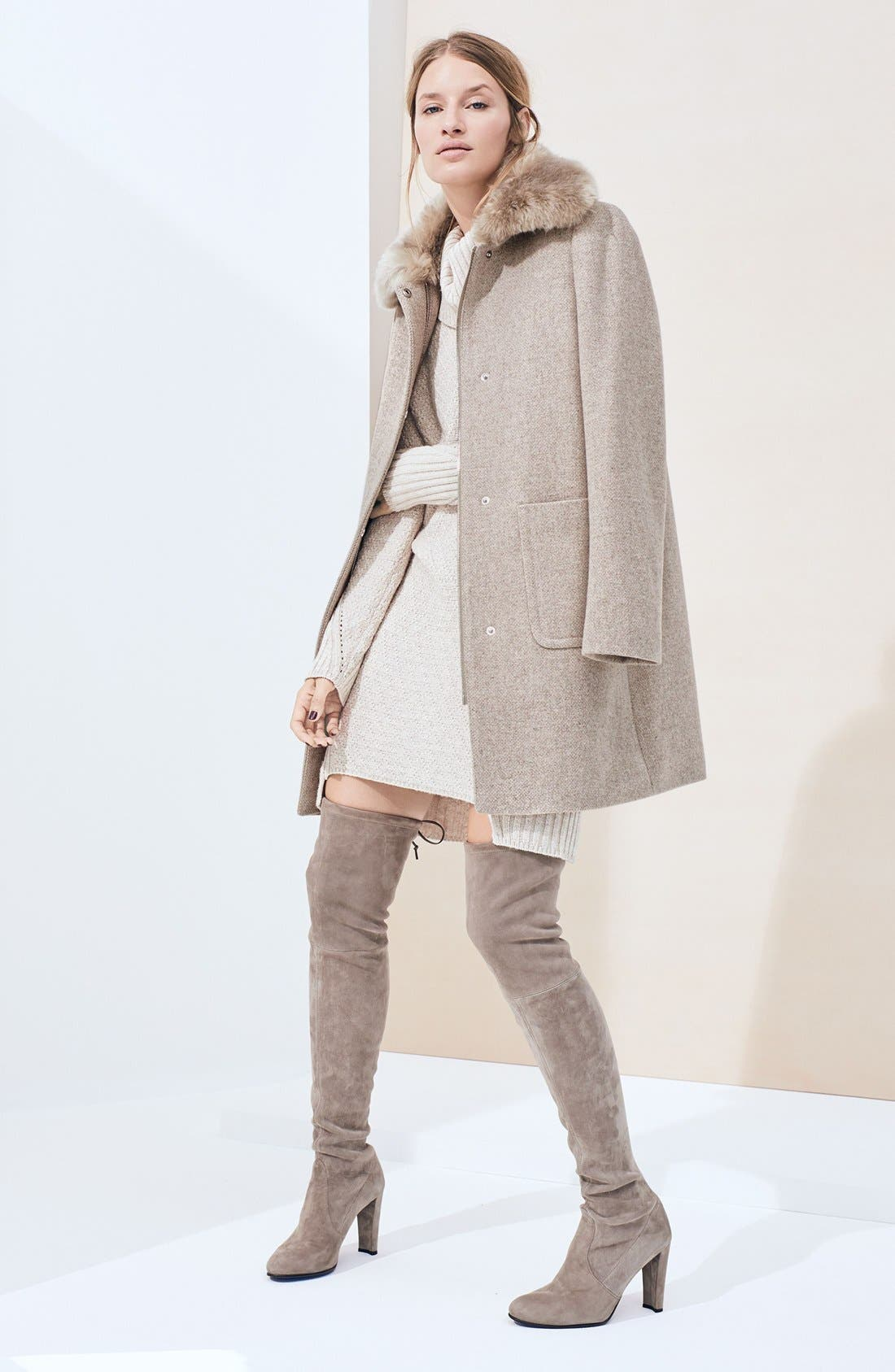Alternate Image 2  - Lauren Ralph Lauren Wool Blend Coat with Faux Fur Collar (Regular & Petite)