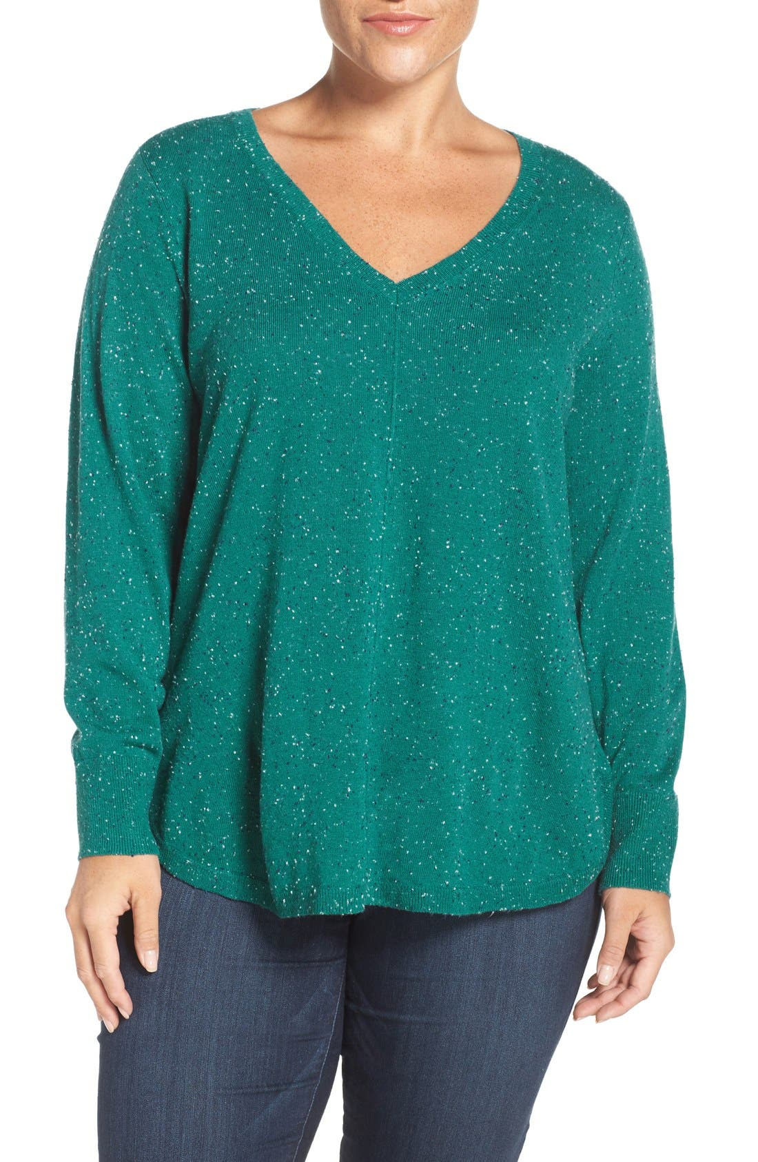Marled V-Neck Sweater,                         Main,                         color, Teal- Navy Pattern