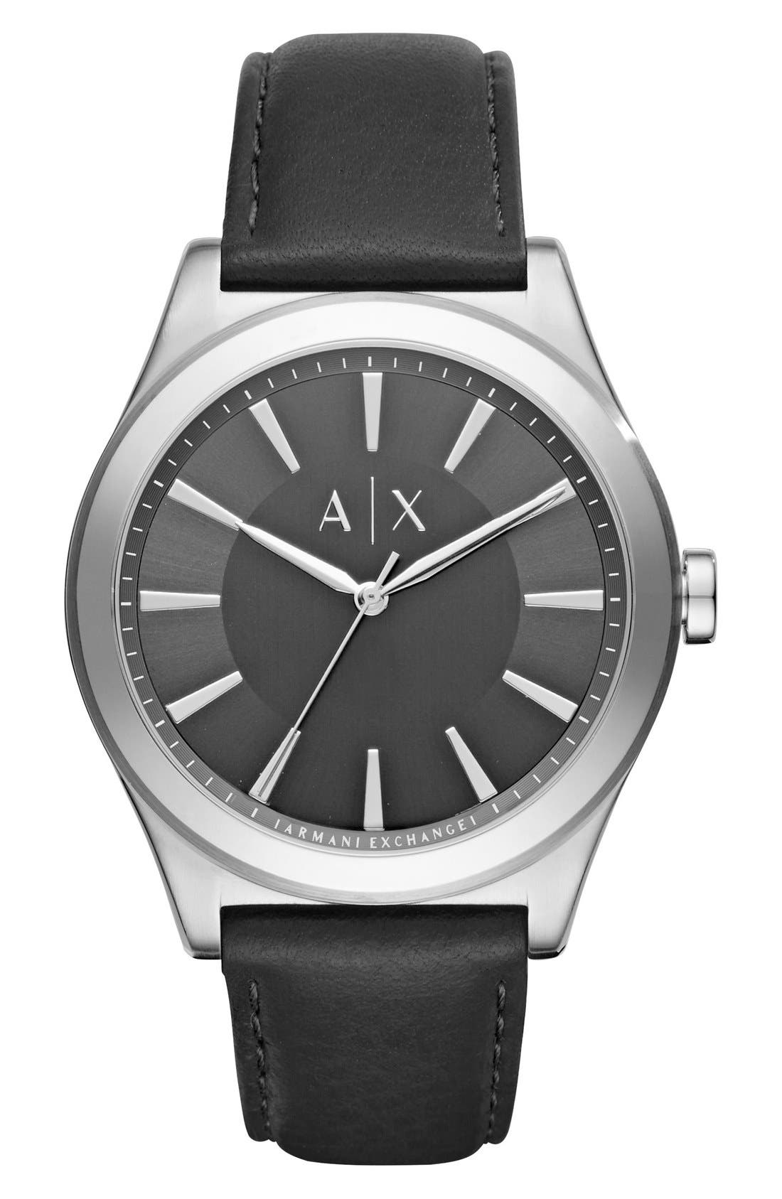 Leather Strap Watch, 44mm,                         Main,                         color, Black/ Black